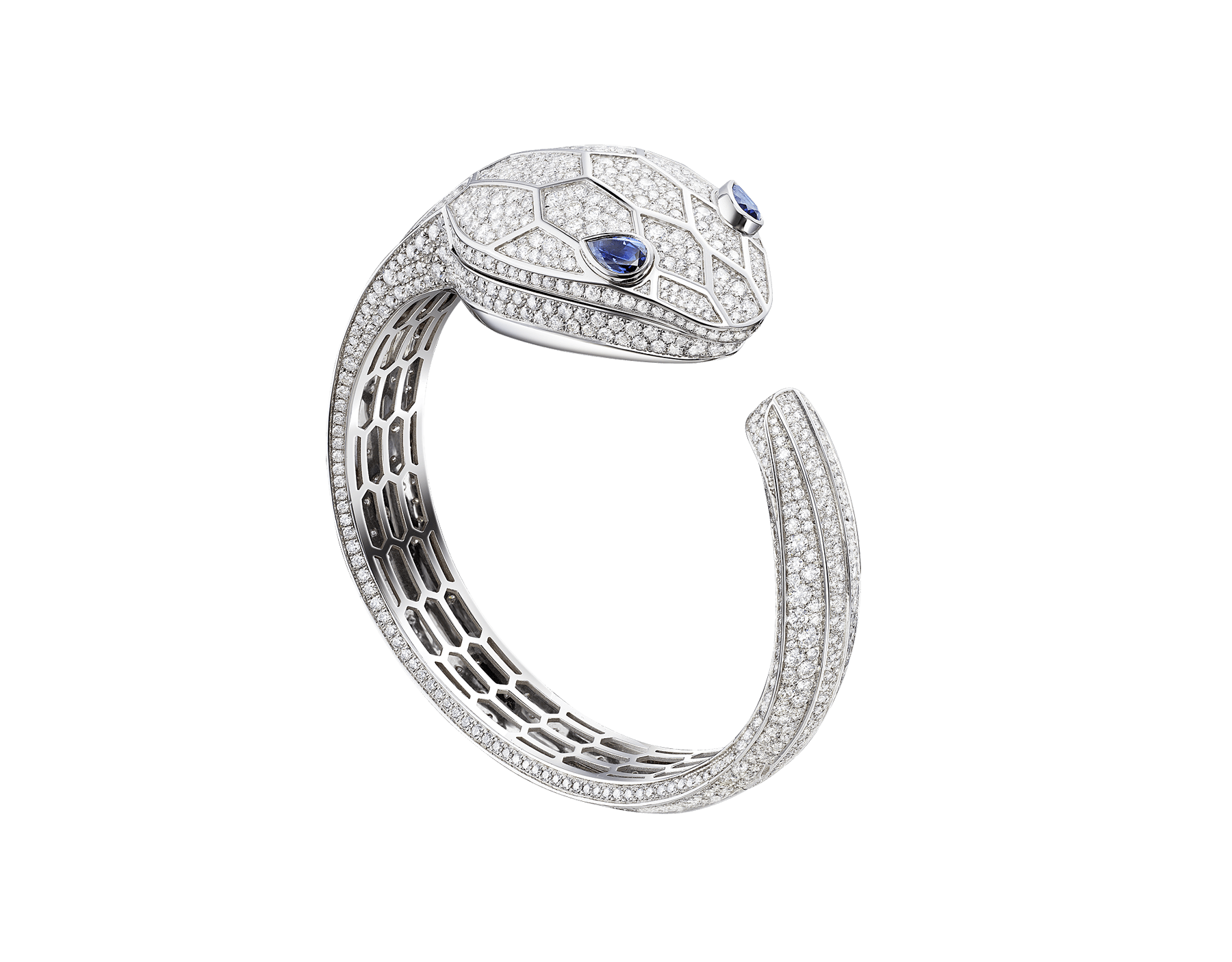 Serpenti Misteriosi Secret Watch in 18 kt white gold case and bangle bracelet, both set with round brilliant-cut diamonds, diamond full pavé dial and pear-shaped sapphire eyes. Small size 102989 image 1