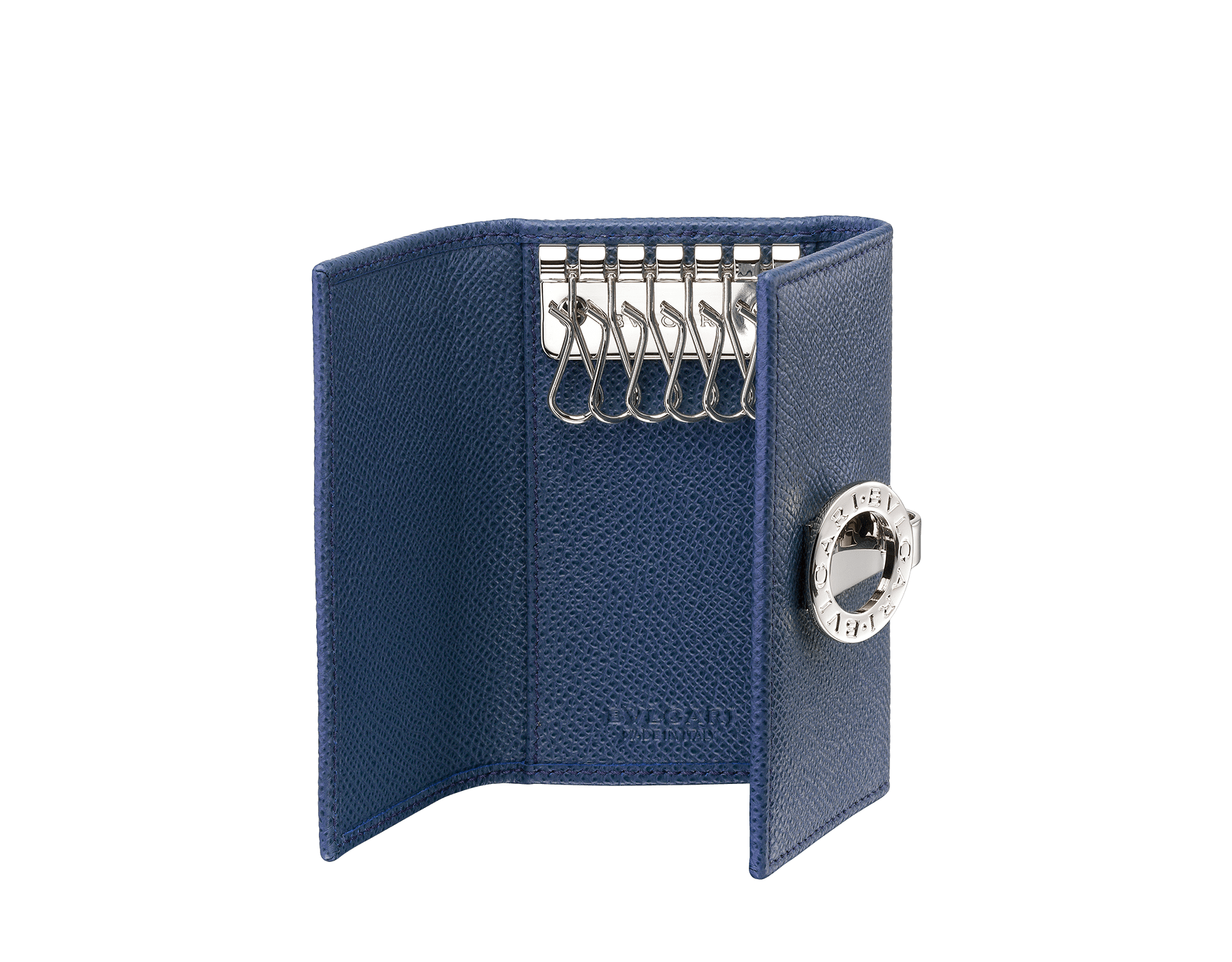 Small keyholder in denim sapphire grain calf leather and bordeaux nappa lining. Iconic brass palladium plated clip featuring the BVLGARI BVLGARI motif. 286891 image 2