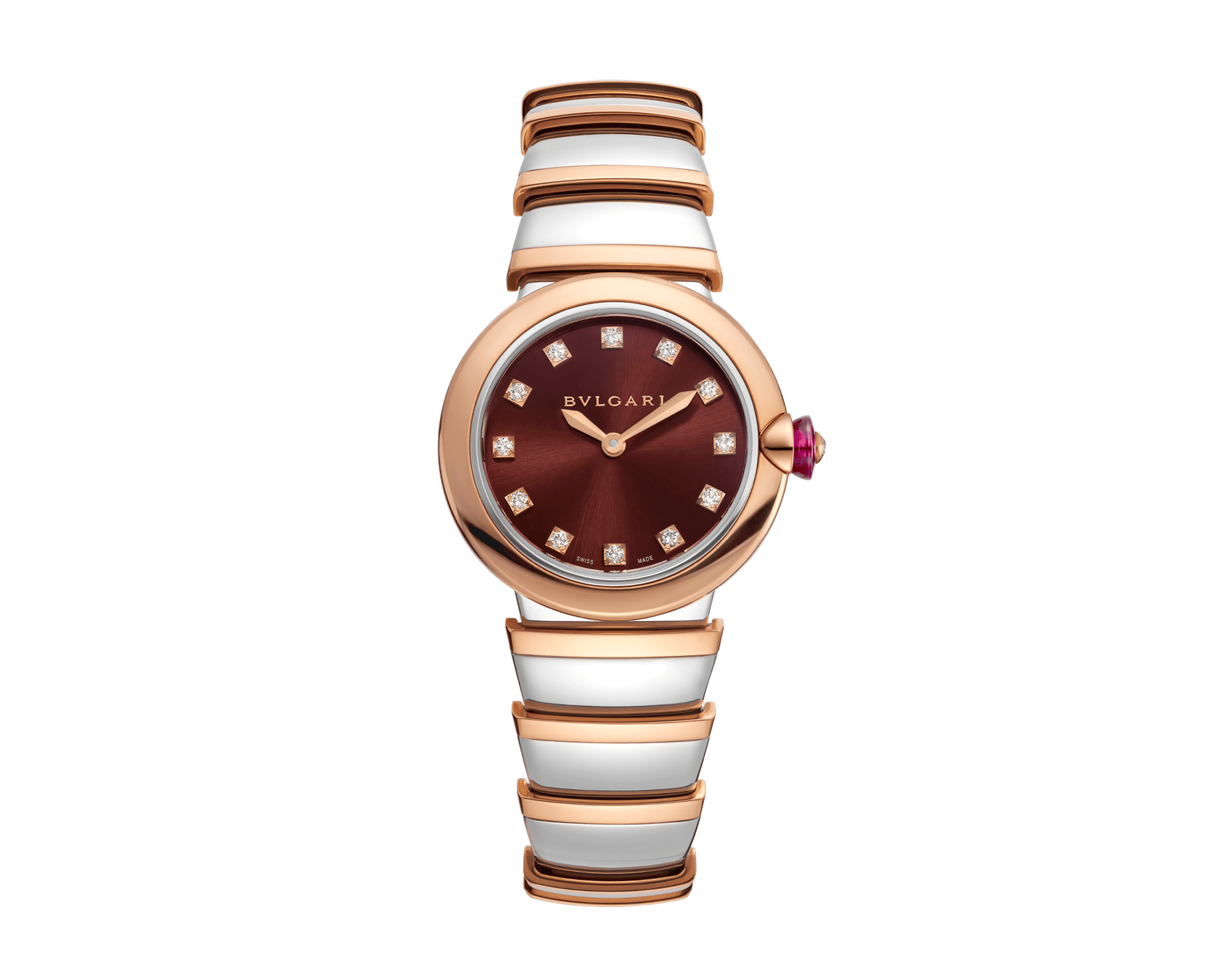 LVCEA watch in 18kt rose gold and stainless steel case and bracelet, and brown dial set with diamond indexes. 102691 image 1