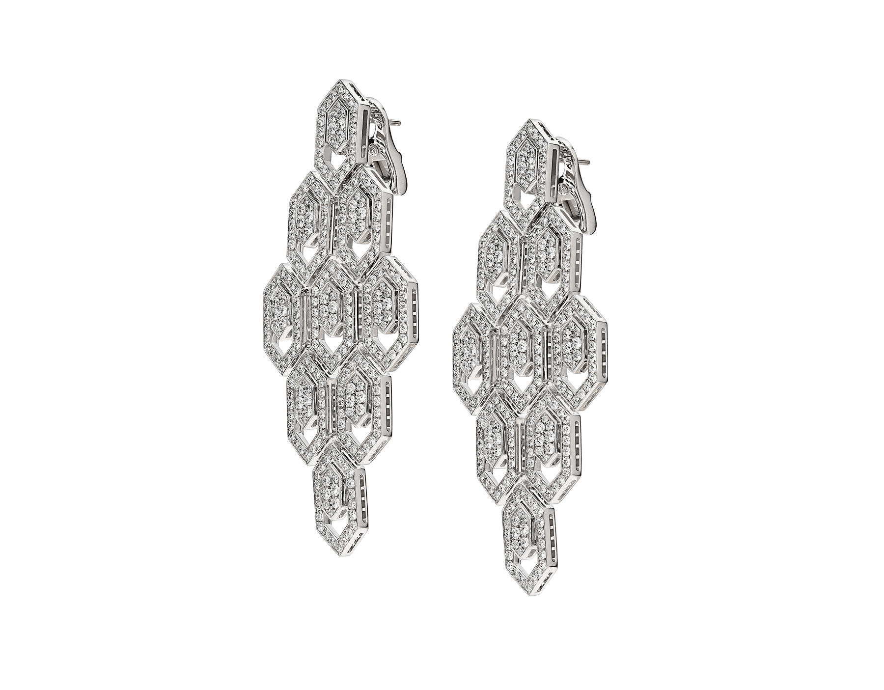 Serpenti earrings in 18 kt white gold, set with pavé diamonds. 353844 image 2