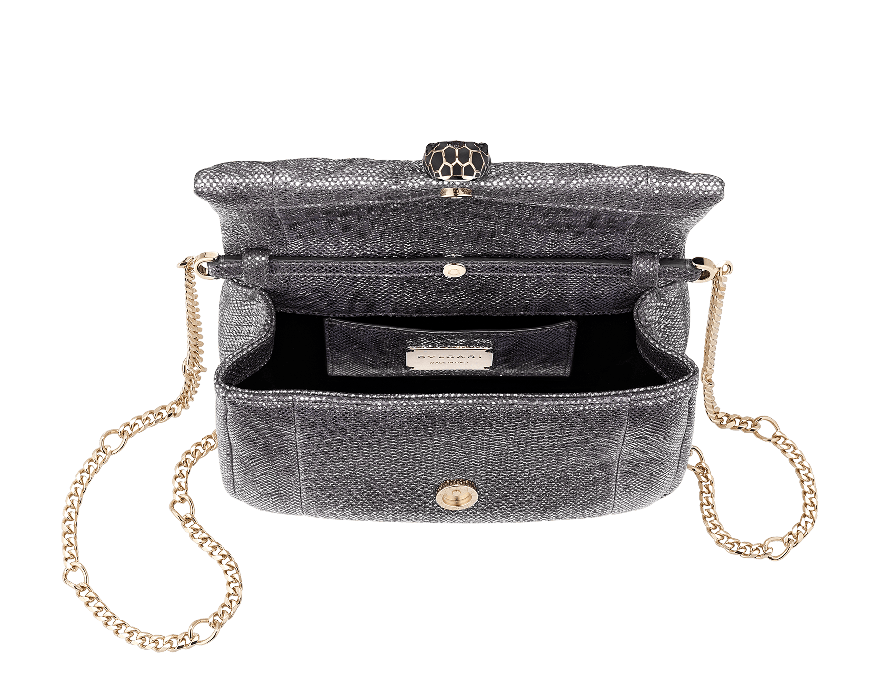 Serpenti Cabochon micro bag in soft matelassé white agate metallic karung skin, with a graphic motif. Light gold brass plated tempting snake head closure in black and glitter white agate enamel and black onyx eyes. 1023-MK image 4