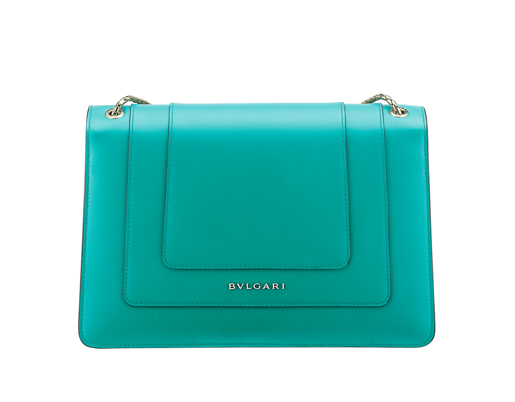 Serpenti Forever shoulder bag in tropical turquoise smooth calf leather. Snakehead closure in light gold plated brass decorated with black and white enamel, and green malachite eyes. 287931 image 3