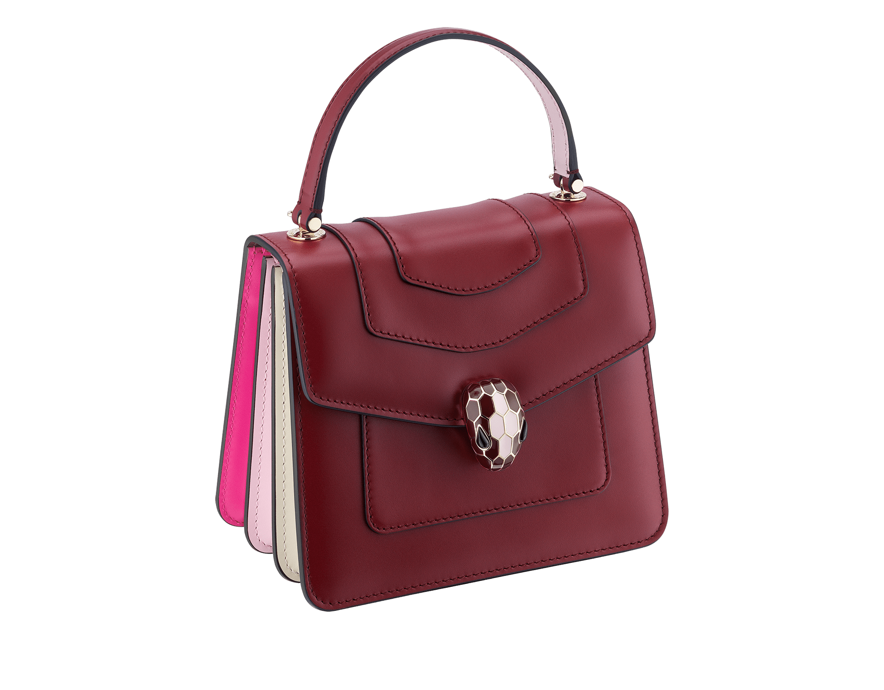 Serpenti Forever crossbody bag in Roman garnet calf leather, with flash amethyst, rosa di francia and white agate calf leather sides. Iconic snakehead closure in light gold plated brass embellished with Roman garnet and rosa di francia enamel and black onyx eyes. 288891 image 2