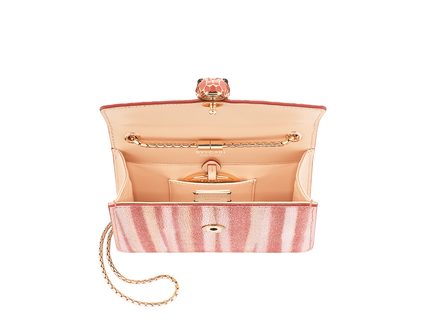 """Serpenti Forever"" crossbody bag in multicolor ""Ministriped"" galuchat skin body and peach calf leather sides, with peach nappa leather internal lining. Tempting snakehead closure in gold plated brass enriched with dark and matte peach enamel and black onyx eyes. 290557 image 2"