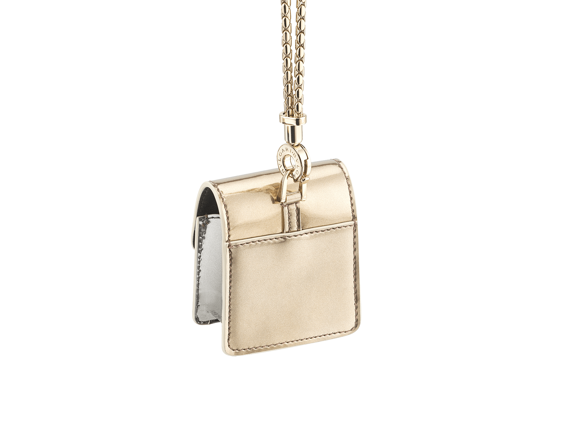 Serpenti Forever Holiday Season AirPods holder in antique bronze and silver brushed metallic calf leather. Snakehead closure in light gold plated brass embellished with black and glitter silver enamel, and black onyx eyes. 289489 image 3
