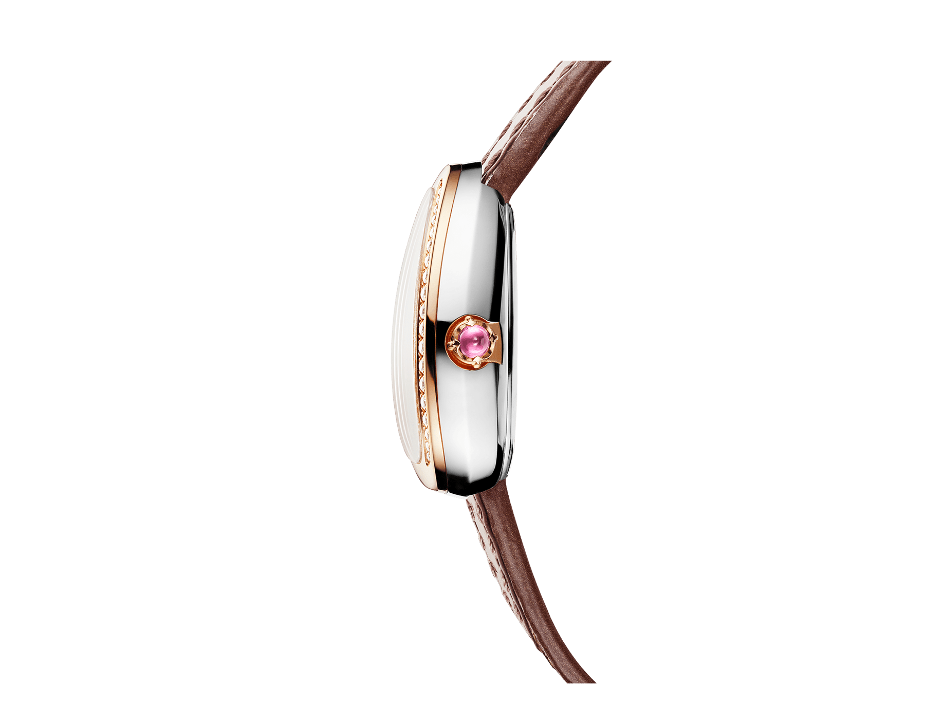 Serpenti watch with stainless steel case, 18 kt rose gold bezel set with round brilliant-cut diamonds, white mother-of-pearl dial and interchangeable double spiral bracelet in brown leather 103059 image 2