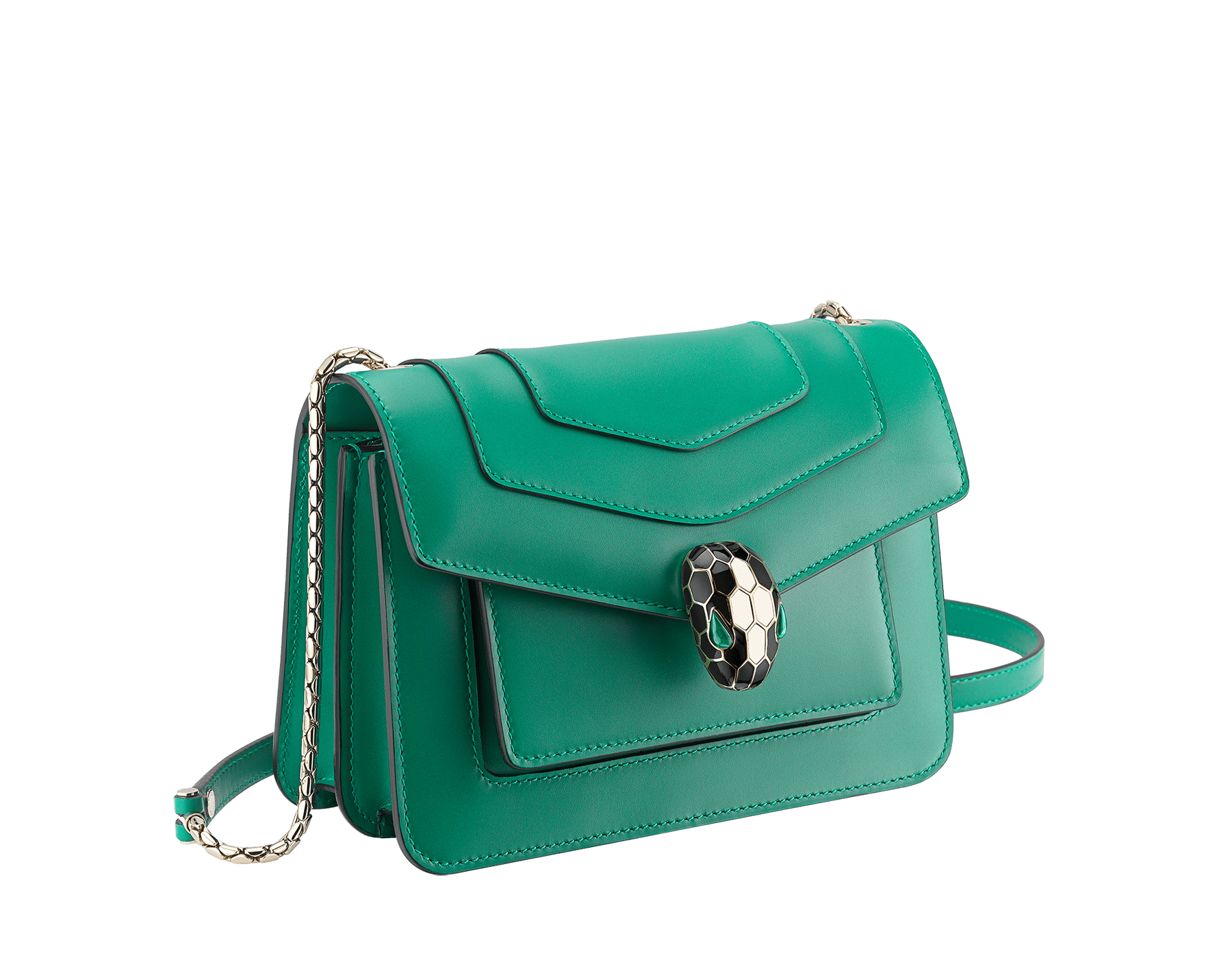 """Serpenti Forever"" crossbody bag in emerald green calf leather. Iconic snake head closure in light gold plated brass enhanced with black and white agate enamel and green malachite eyes. 1082-CLa image 2"
