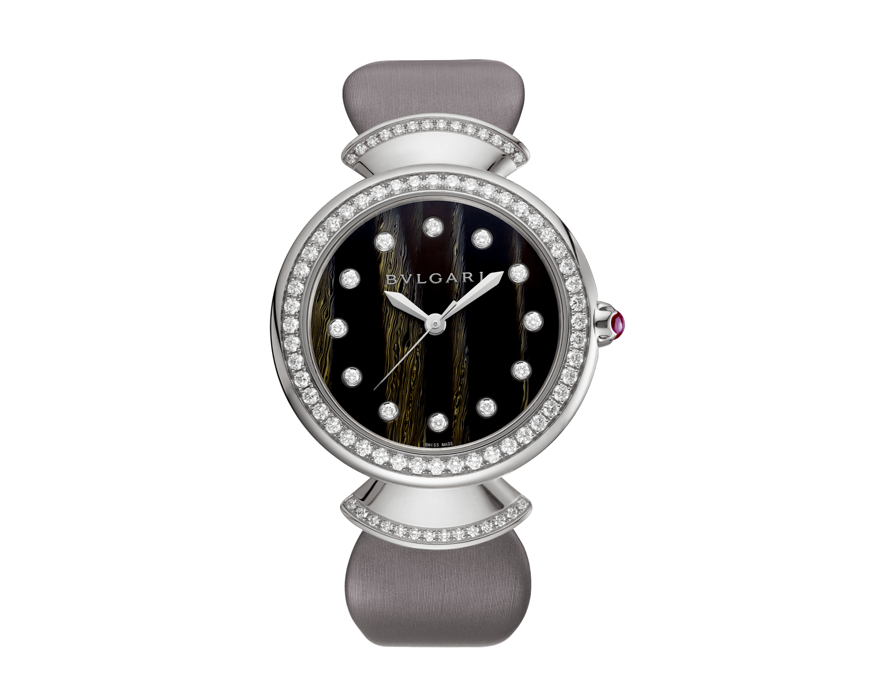 DIVAS' DREAM watch with 18 kt white gold case set with brilliant-cut diamonds, acetate dial, diamond indexes and grey satin bracelet 102576 image 1
