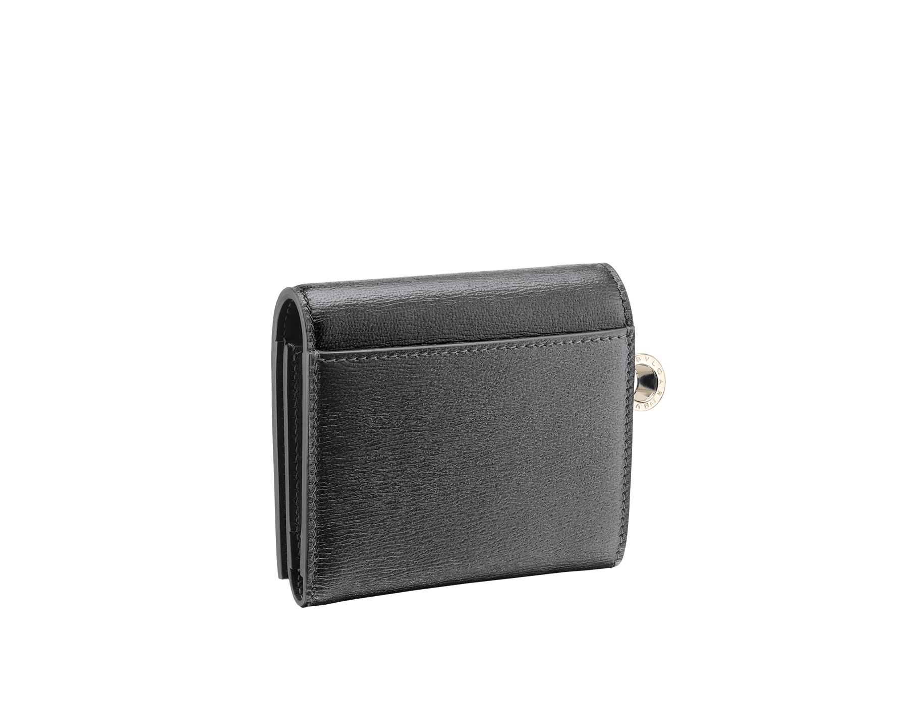 B.zero1 super compact wallet in black goatskin. Iconic B.zero1 charm in light gold plated brass. 288240 image 3