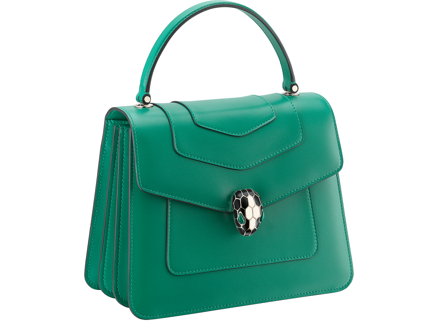 """Serpenti Forever"" top handle bag in daisy topaz calf leather. Iconic snake head closure in light gold plated brass enriched with black and white enamel and green malachite eyes. 1050-CL image 2"