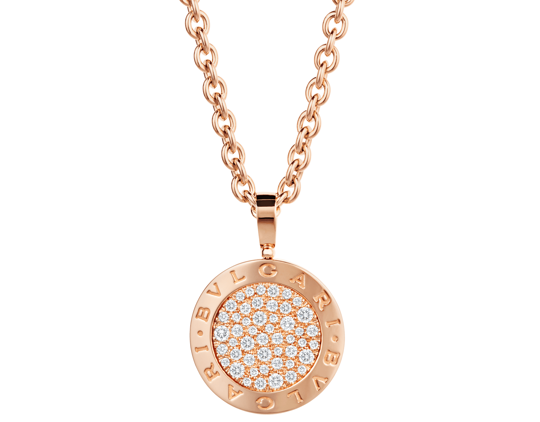 BVLGARI BVLGARI necklace with 18 kt rose gold chain and 18 kt rose gold pendant set with pavé diamonds 345277 image 1