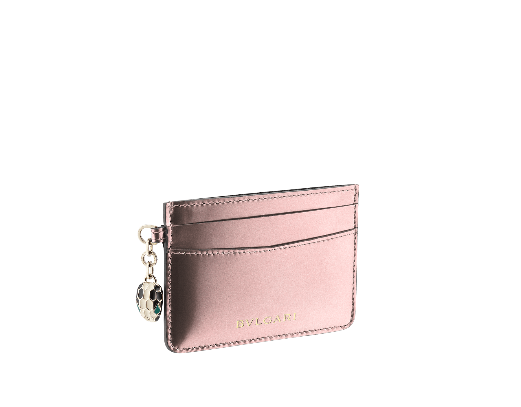 Credit card holder in forest emerald brushed metallic calf leather and black calf leather lining. Serpenti charm in black and white enamel with green malachite enamel eyes and Bulgari logo. SEA-CC-HOLDER-BMCL image 1