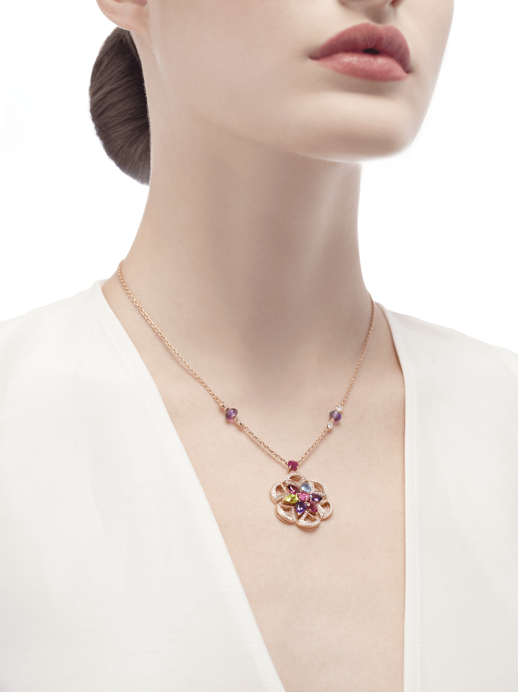 DIVAS' DREAM 18 kt rose gold necklace set with coloured gemstones and pavé diamonds 355617 image 4