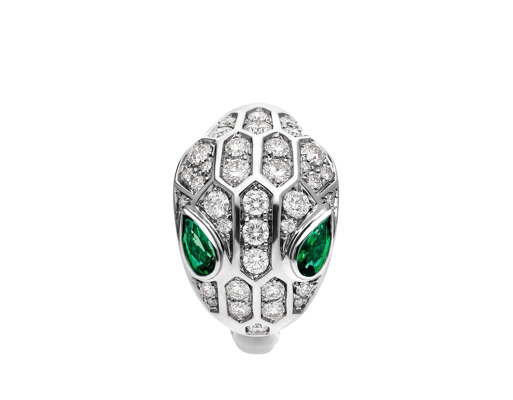 Serpenti ring in 18 kt white gold set with two emerald eyes (0.30 ct) and pavé diamonds (0.76 ct). AN858255 image 2