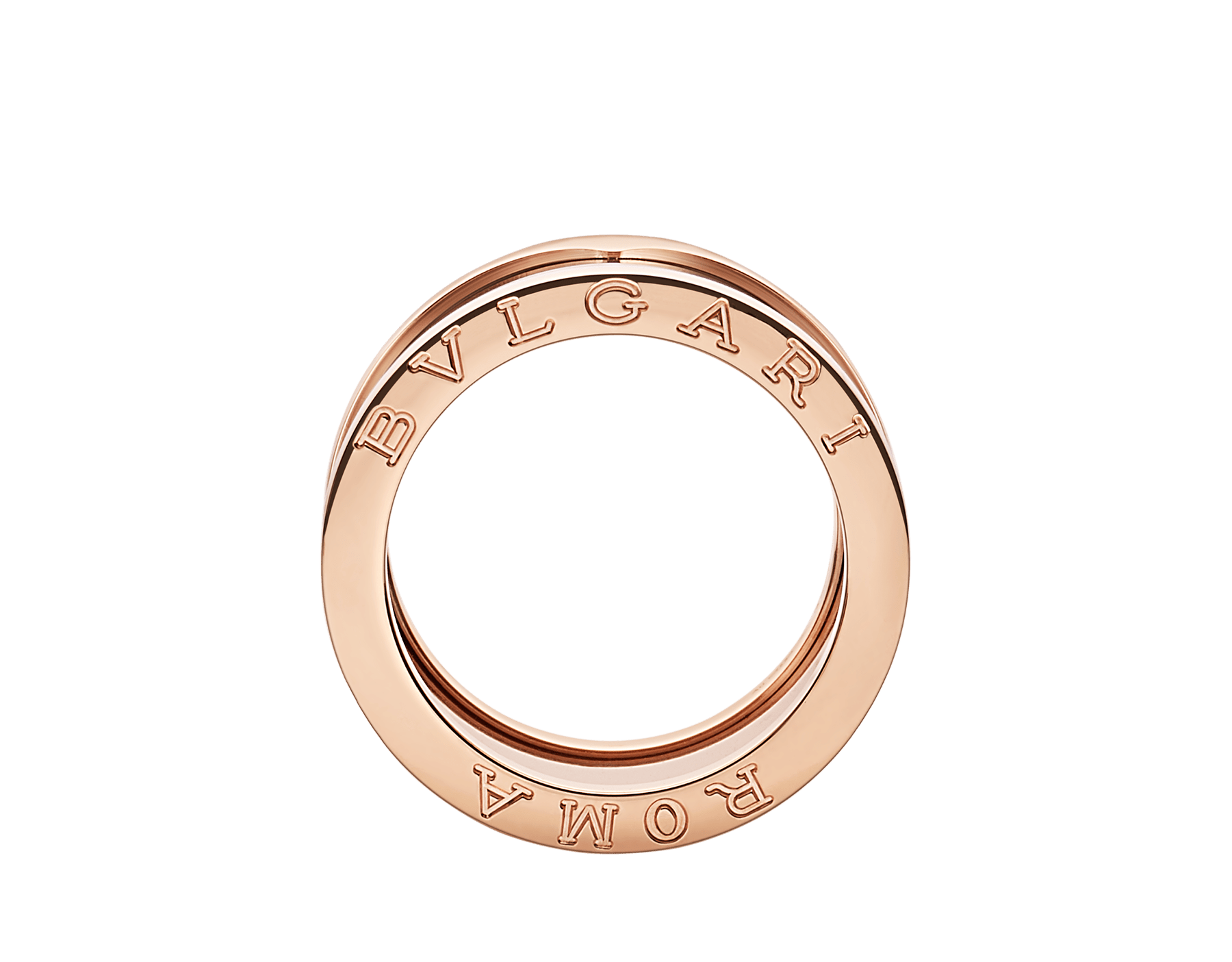 B.zero1 ROMA four-band ring with 18 kt rose gold loops and bronze ceramic spiral. B-zero1-4-bands-AN856887 image 2