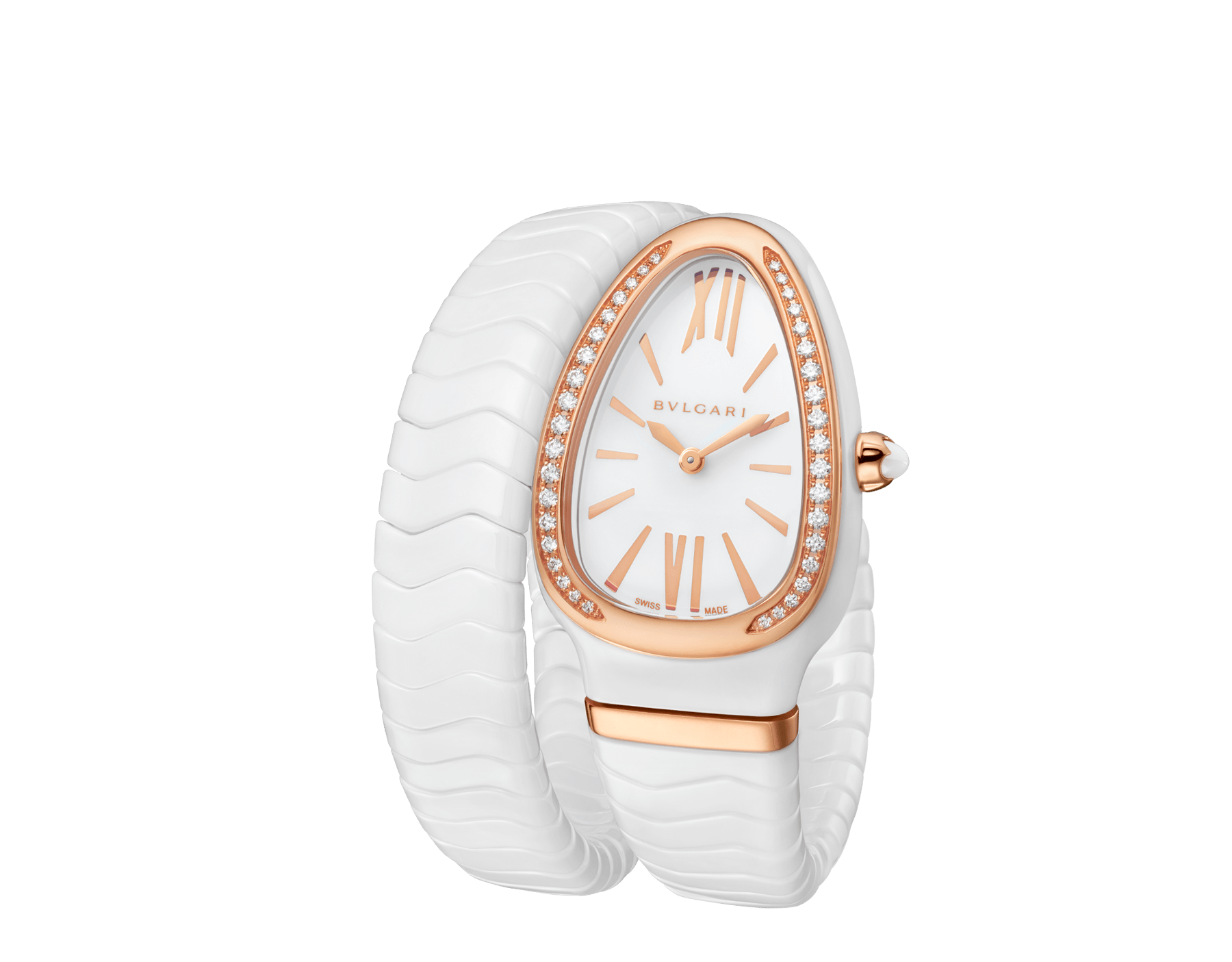 Serpenti Spiga single spiral watch with white ceramic case, 18 kt rose gold bezel set with brilliant cut diamonds, white lacquered dial, white ceramic bracelet with 18 kt rose gold elements. 102613 image 2