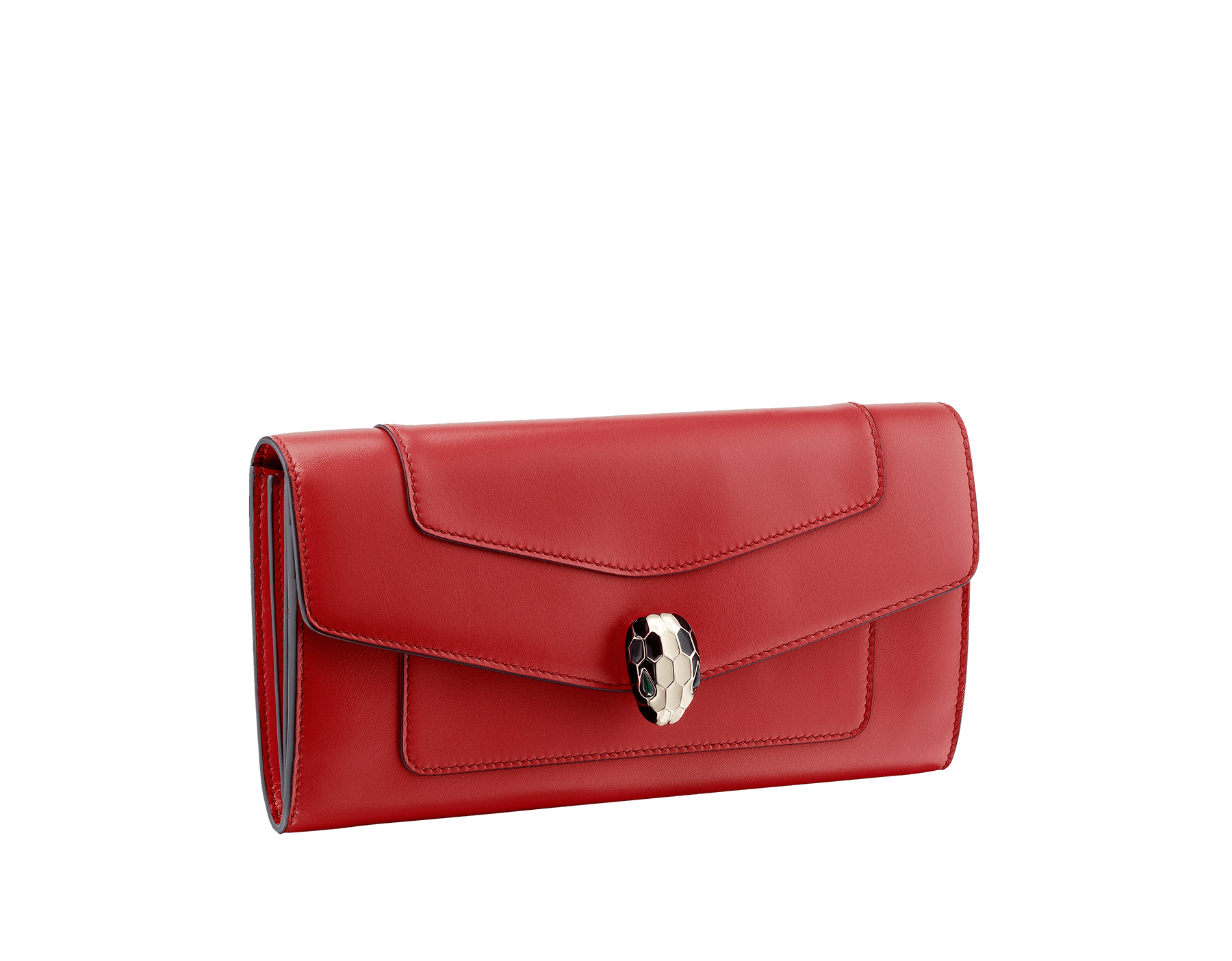 Wallet pochette in emerald green and violet amethyst calf leather with brass light gold plated hardware.Serpenti head stud closure in black and white enamel with eyes in green malachite. SEA-WLT-POCHE-16CC-CL image 1