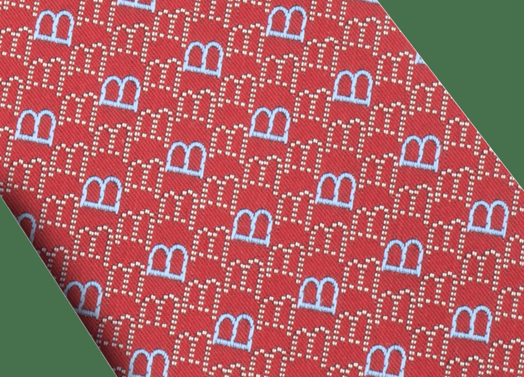レッドのロゴ B ポイント セブンフォールドネクタイ。上質なサリオーネプリントシルク製。 244391 image 2