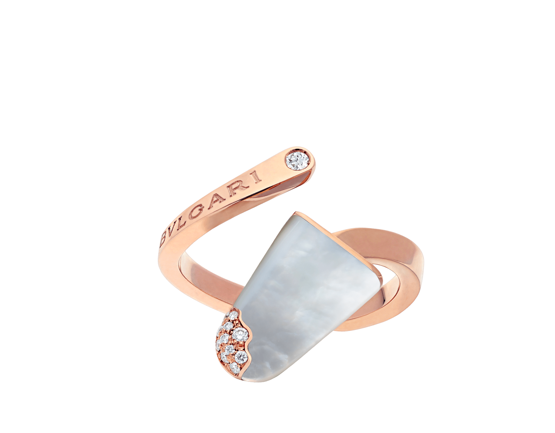 BVLGARI BVLGARI系列戒指,18K玫瑰金材质,镶嵌珍珠母贝,饰以密镶钻石 AN858014 image 1