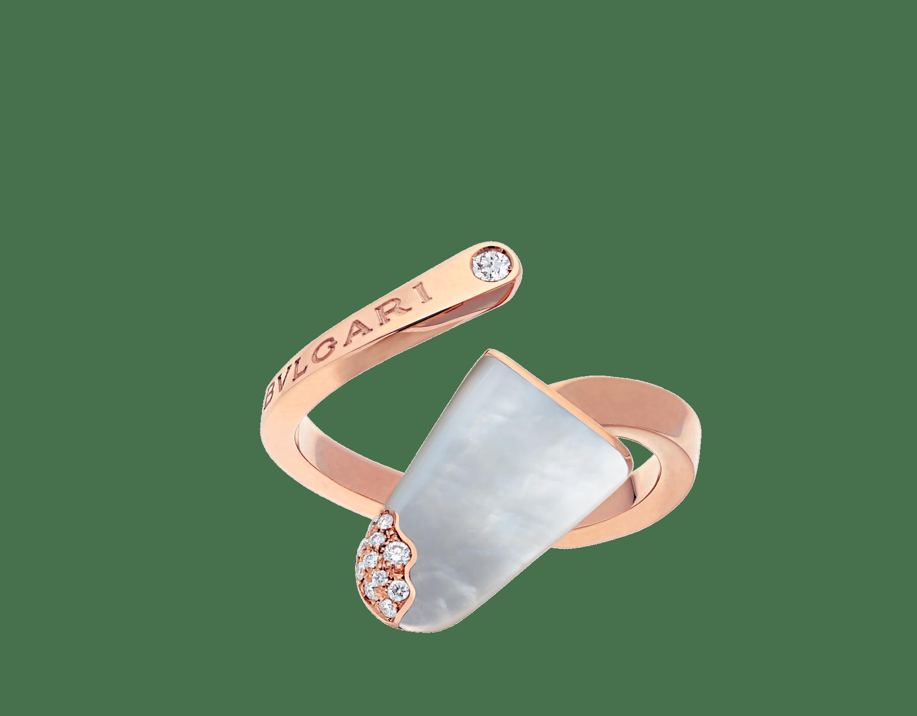 Bague BVLGARI BVLGARI Gelati en or rose 18K avec nacre et pavé diamants AN858014 image 1