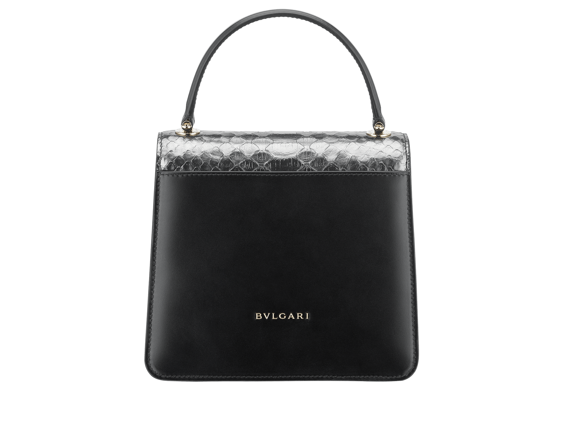 """Serpenti Forever "" crossbody bag in dark silver python skin flap with onyx scales applied and black smooth calf leather body. Iconic snake head closure in light gold plated brass enriched with black enamel and black onyx eyes. 289419 image 3"