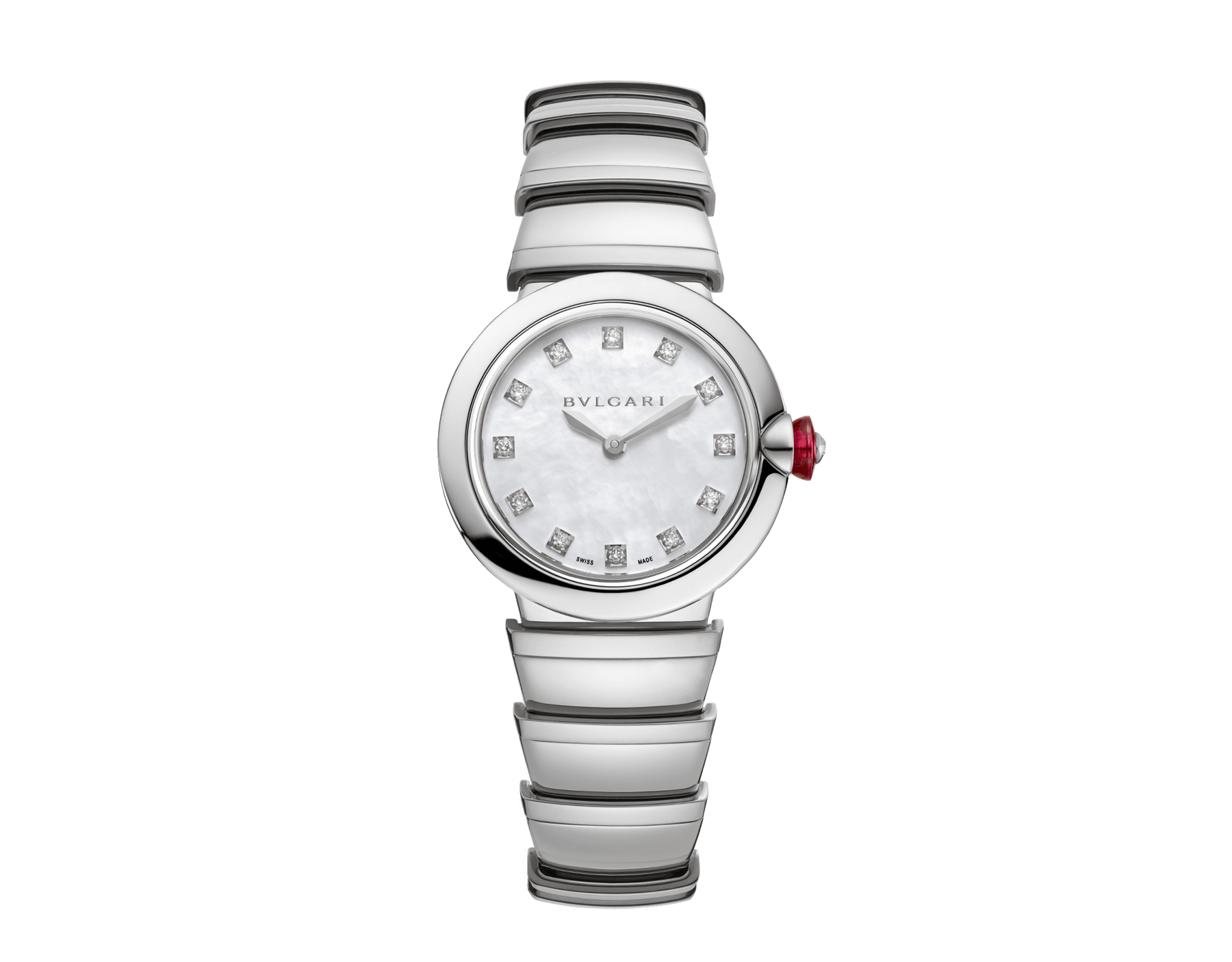 LVCEA watch in stainless steel case and bracelet, white mother-of-pearl dial and diamond indexes. 102196 image 1