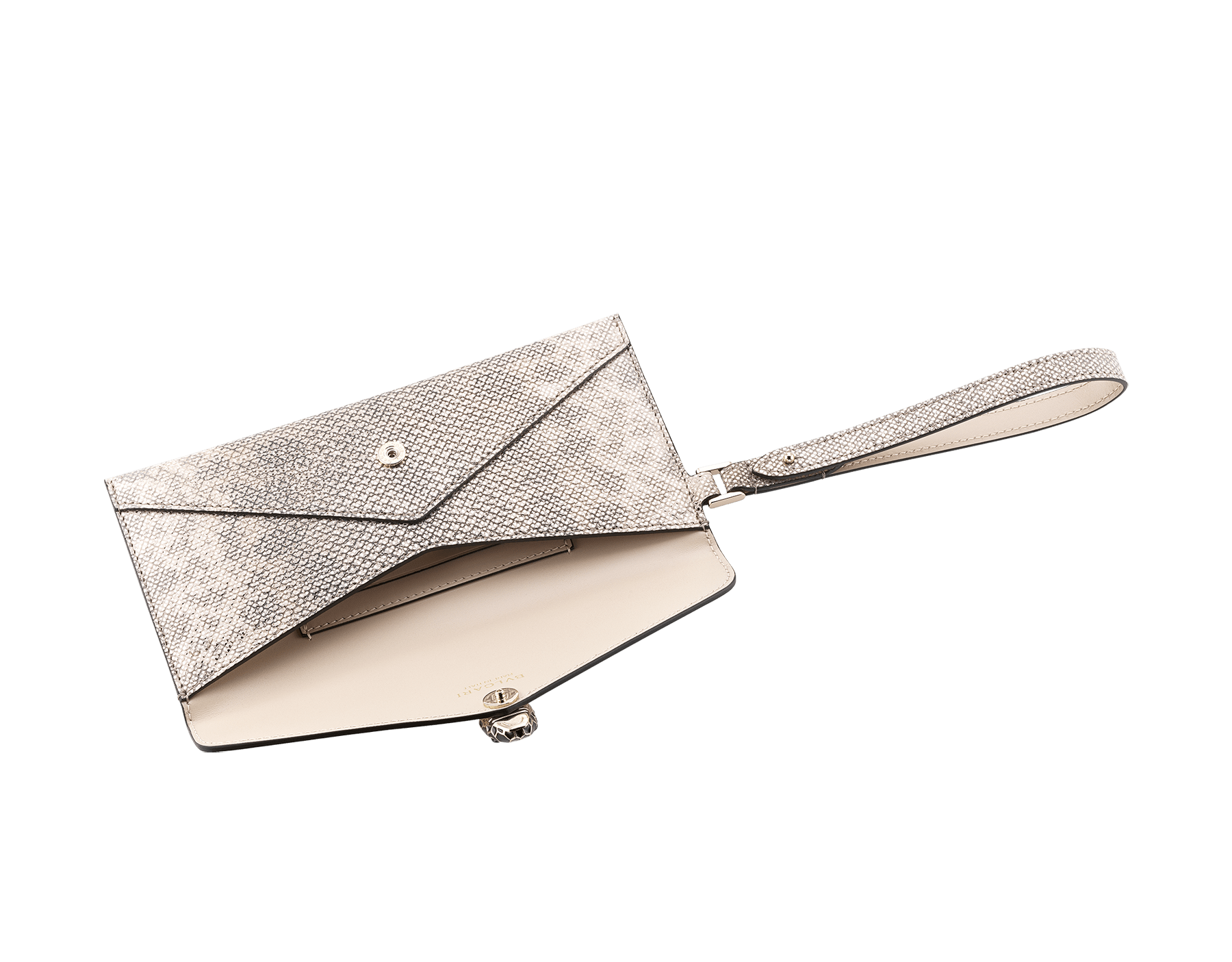 Serpenti Forever envelope case in milky opal metallic karung skin and milky opal calf leather. Iconic snakehead stud closure in black and glitter milky opal enamel, with black onyx eyes. SEA-ENVELOPE-MK image 2