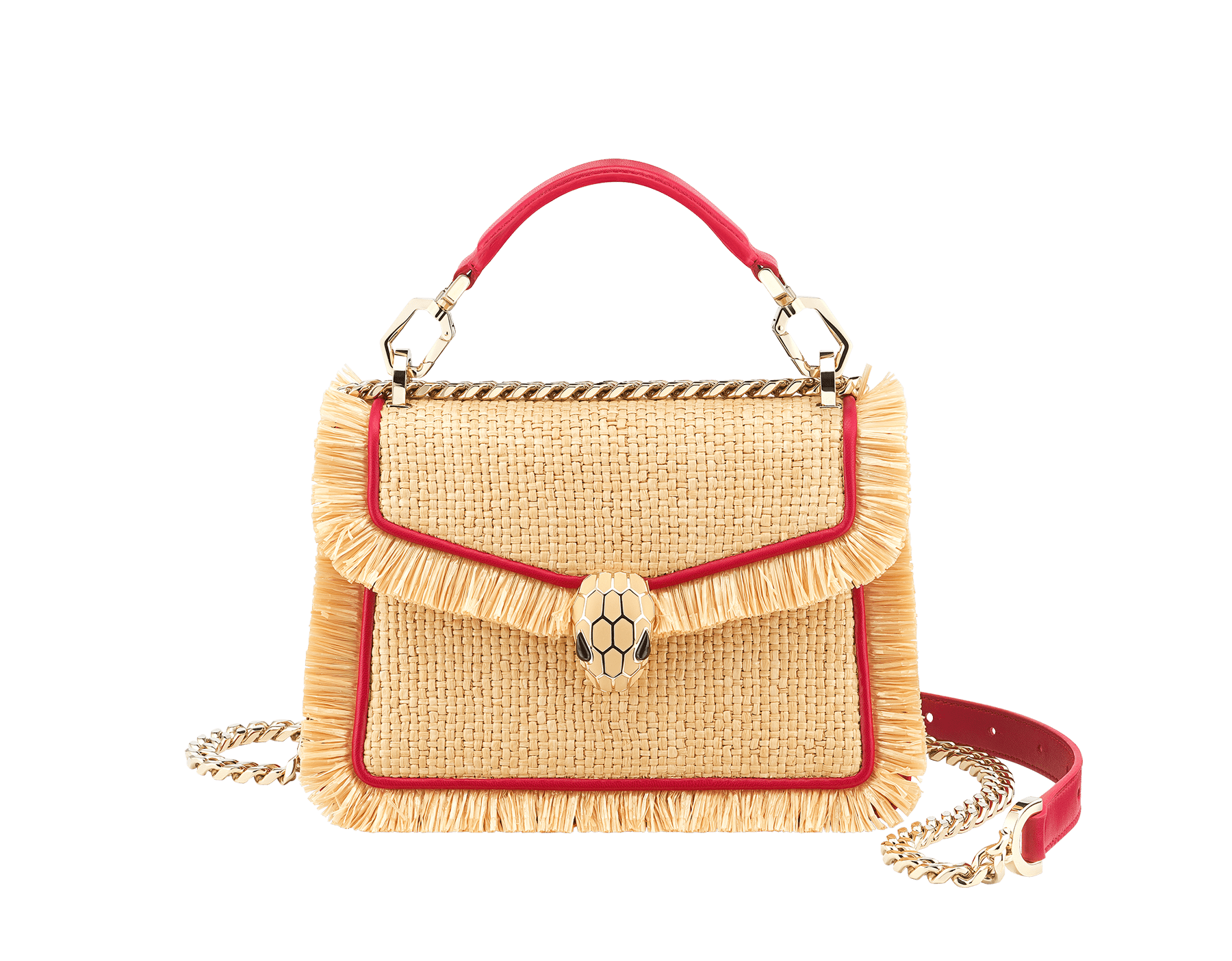"""Serpenti Diamond Blast"" crossbody bag in beige raffia and Carmine Jasper red calfskin frames finished with beige raffia fringes, and Carmine Jasper red nappa leather internal lining. Alluring snakehead closure in light gold-plated brass, enhanced with full matte Natural beige enamel and black onyx eyes. 290906 image 1"