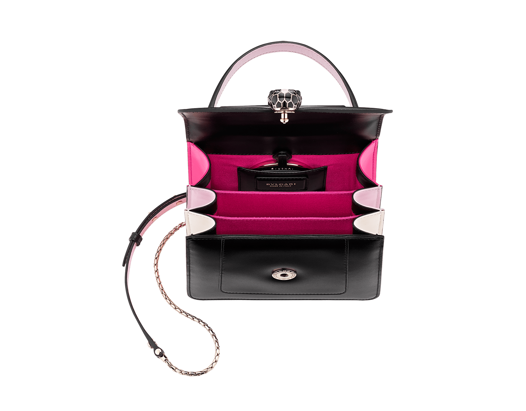 """""""Serpenti Forever """" crossbody bag in white calf leather body and white agate and crystal rose calf leather sides. Iconic snakehead closure in light gold plated brass enriched with white and crystal rose enamel and black onyx eyes. 752-MCLa image 4"""