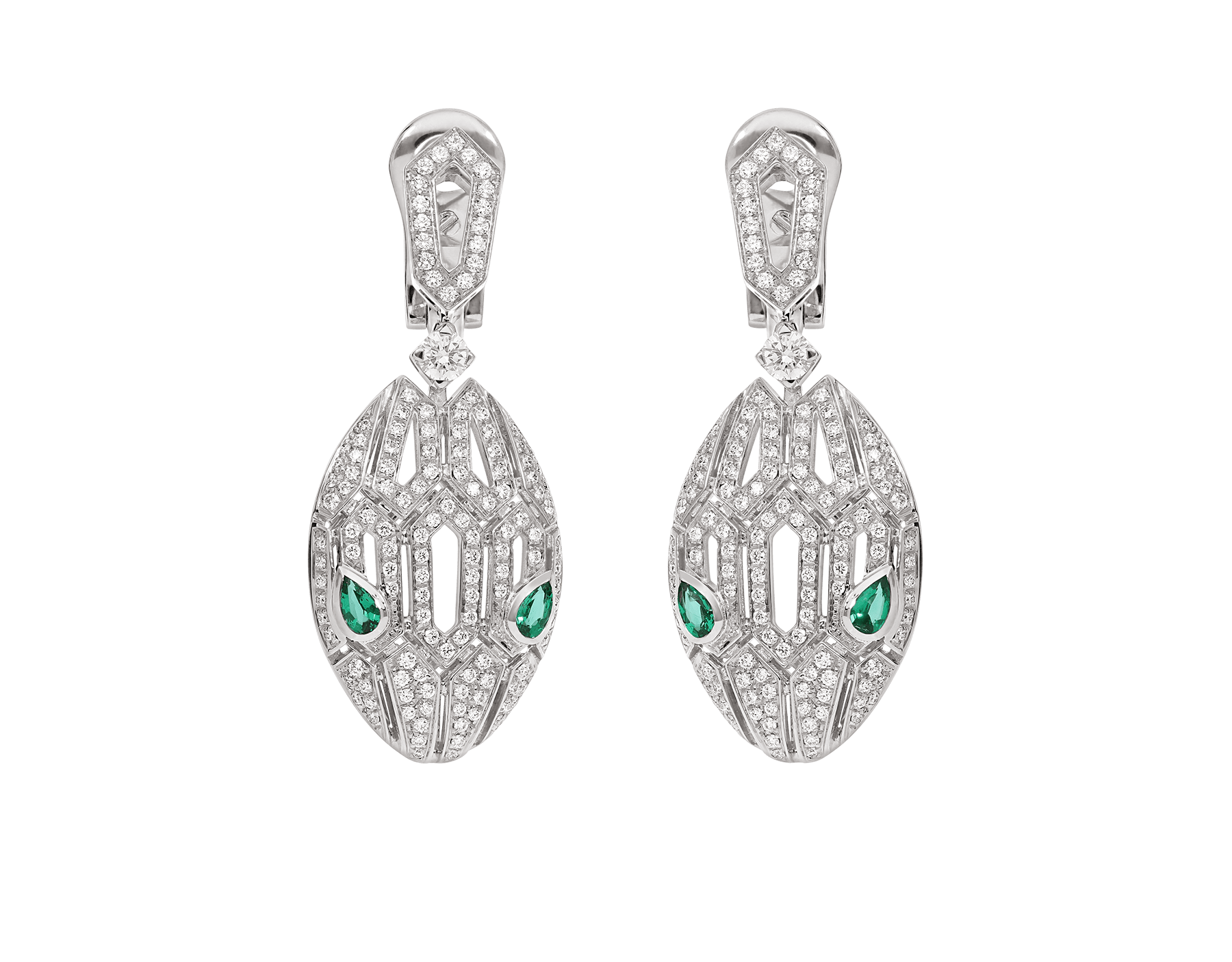 Serpenti earrings in 18 kt white gold, set with emerald eyes and full pavé diamonds. 352756 image 1