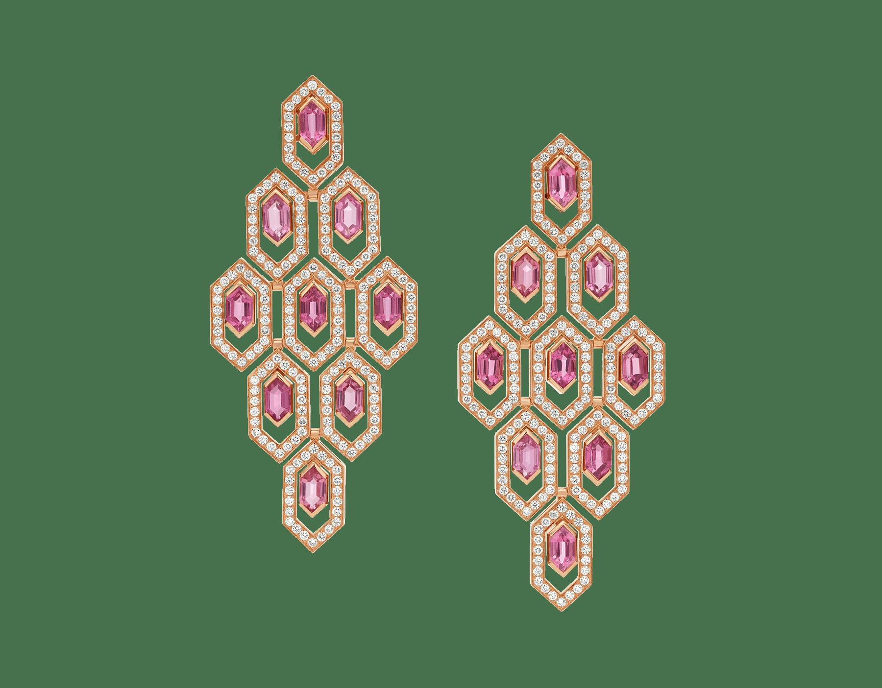 Orecchini Serpenti in oro rosa 18 kt con rubellite e pavé di diamanti. 353846 image 1