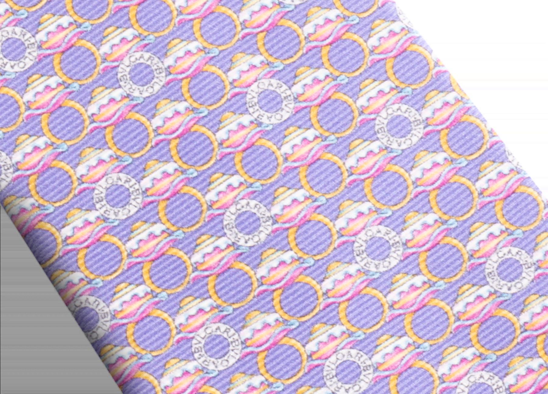Lilac Ring Cake Logo pattern seven-fold tie in fine saglione printed silk. 244194 image 2