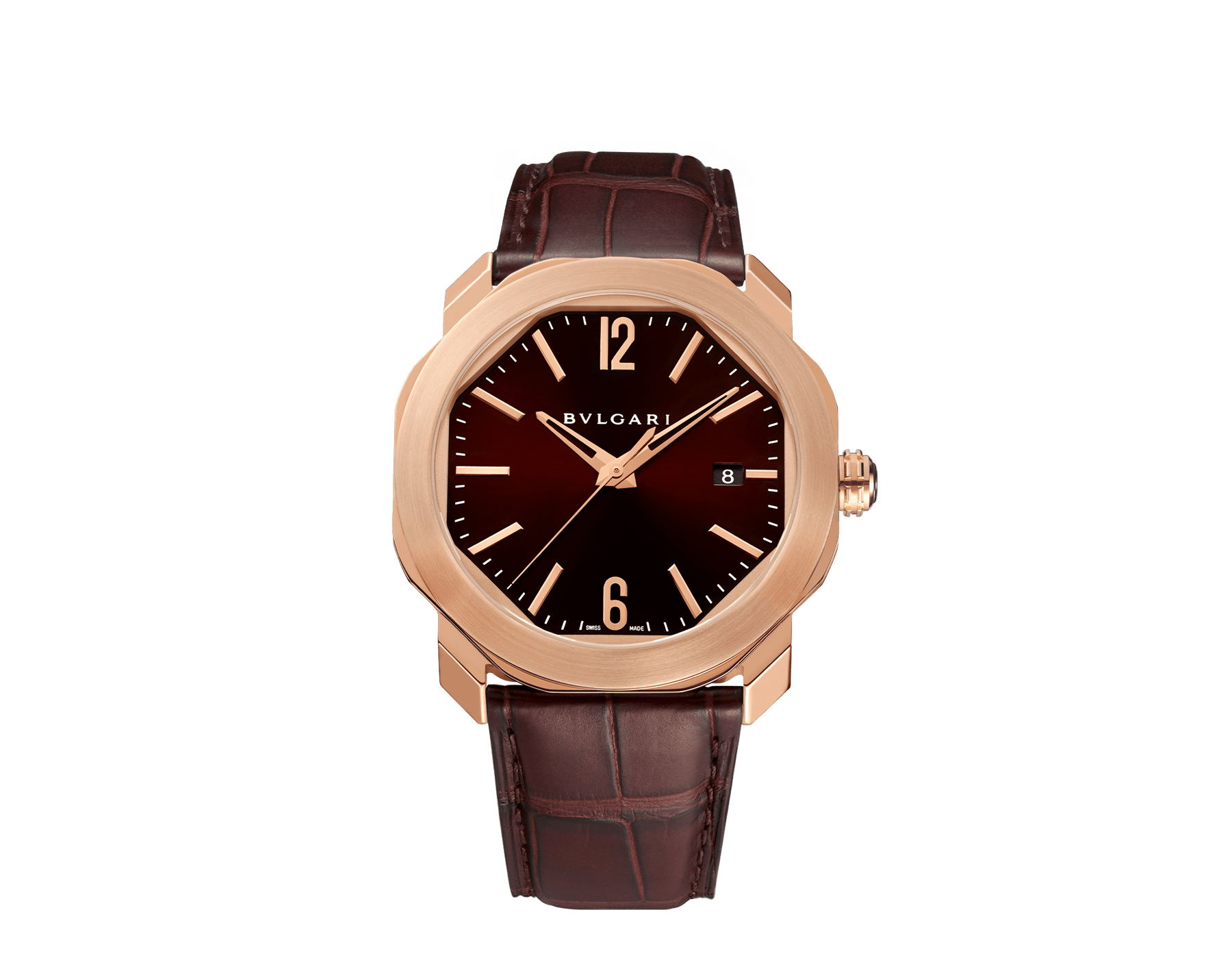Octo Roma watch with mechanical manufacture movement, automatic winding, 18 kt rose gold case, dark brown lacquered dial and brown alligator bracelet. 102702 image 1