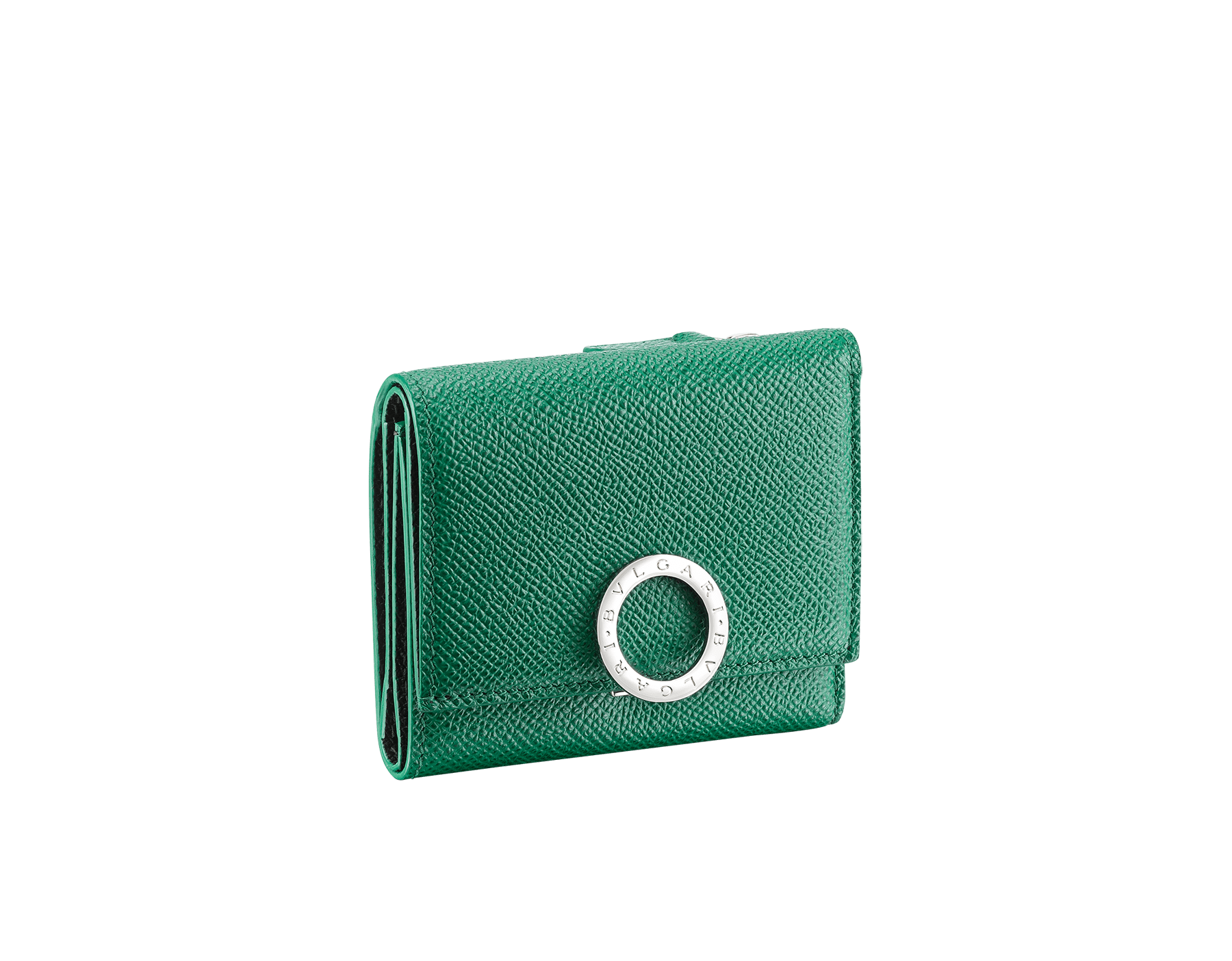 BVLGARI BVLGARI slim compact wallet in emerald green and black grain calf leather. Iconic logo closure clip in palladium plated brass. 289370 image 1