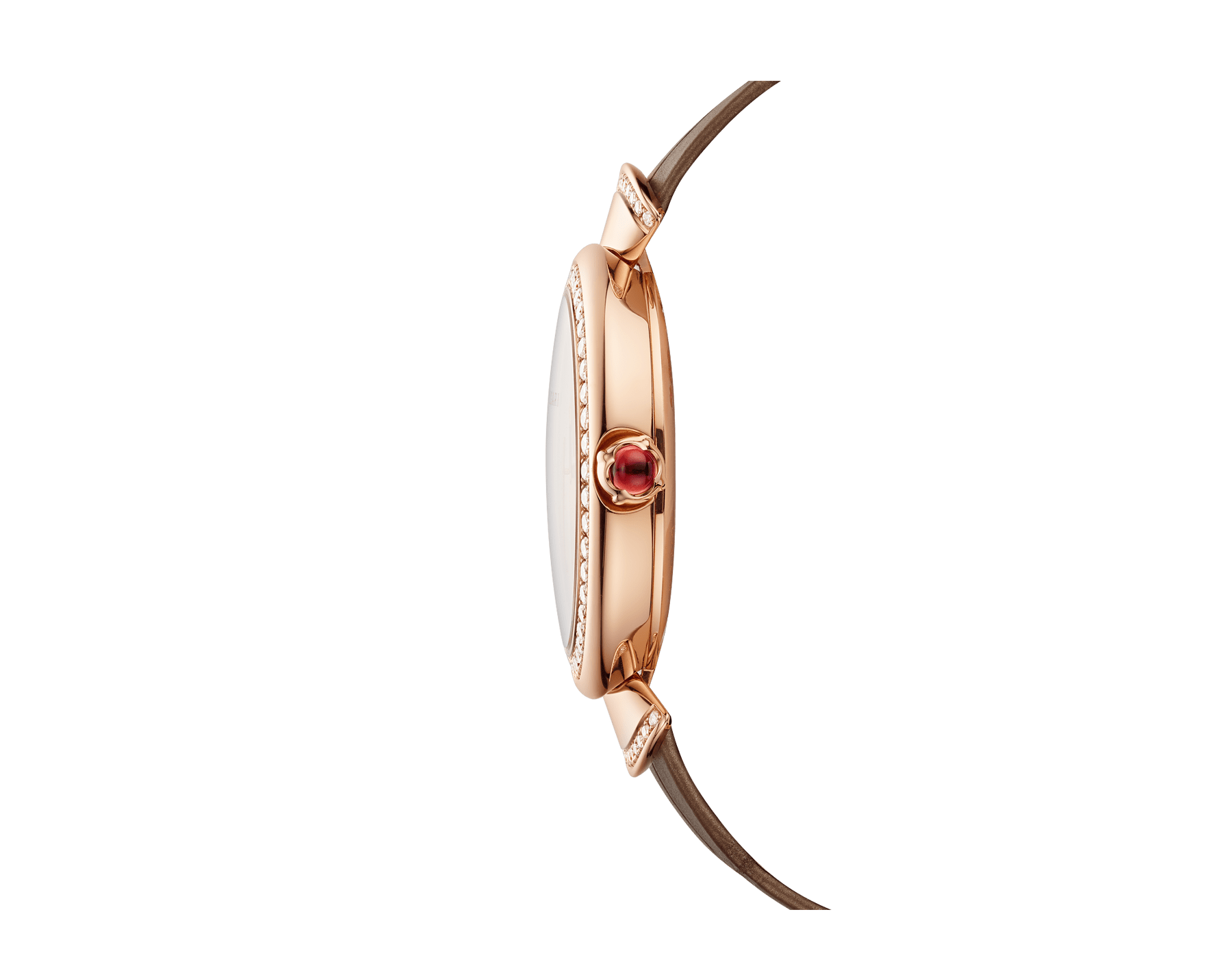 DIVAS' DREAM watch with in-house manufacture mechanical movement, automatic winding, 18 kt rose gold case, 18 kt rose gold bezel and fan-shaped links both set with brilliant-cut diamonds, natural peacock feather dial and shiny beige alligator strap 103139 image 3