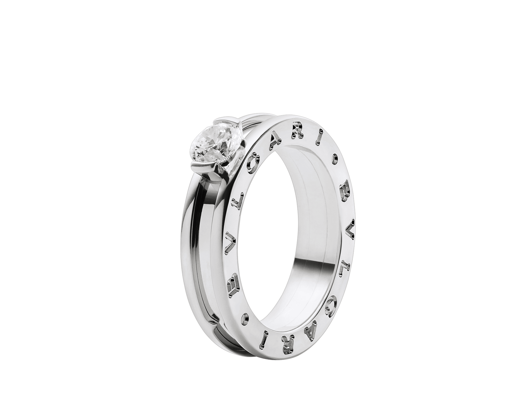 B.zero1 one-band 18 kt white gold ring with one round brilliant cut diamond. Available in 0.30 and 0.50 ct. 336277 image 1