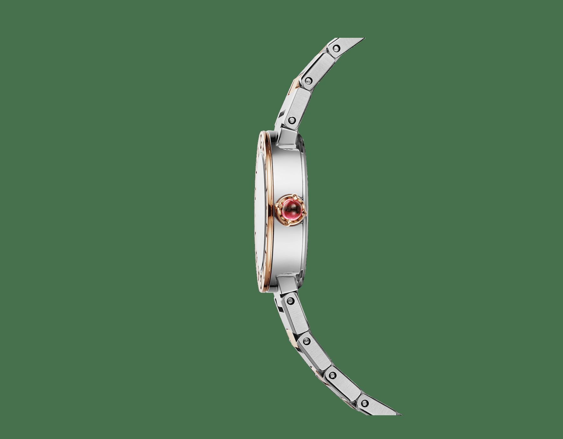 Relógio BVLGARI BVLGARI LADY com caixa em aço inoxidável, bezel em ouro rosa 18K gravado com o logotipo duplo, mostrador preto laqueado e pulseira em ouro rosa 18K e aço inoxidável 102944 image 2
