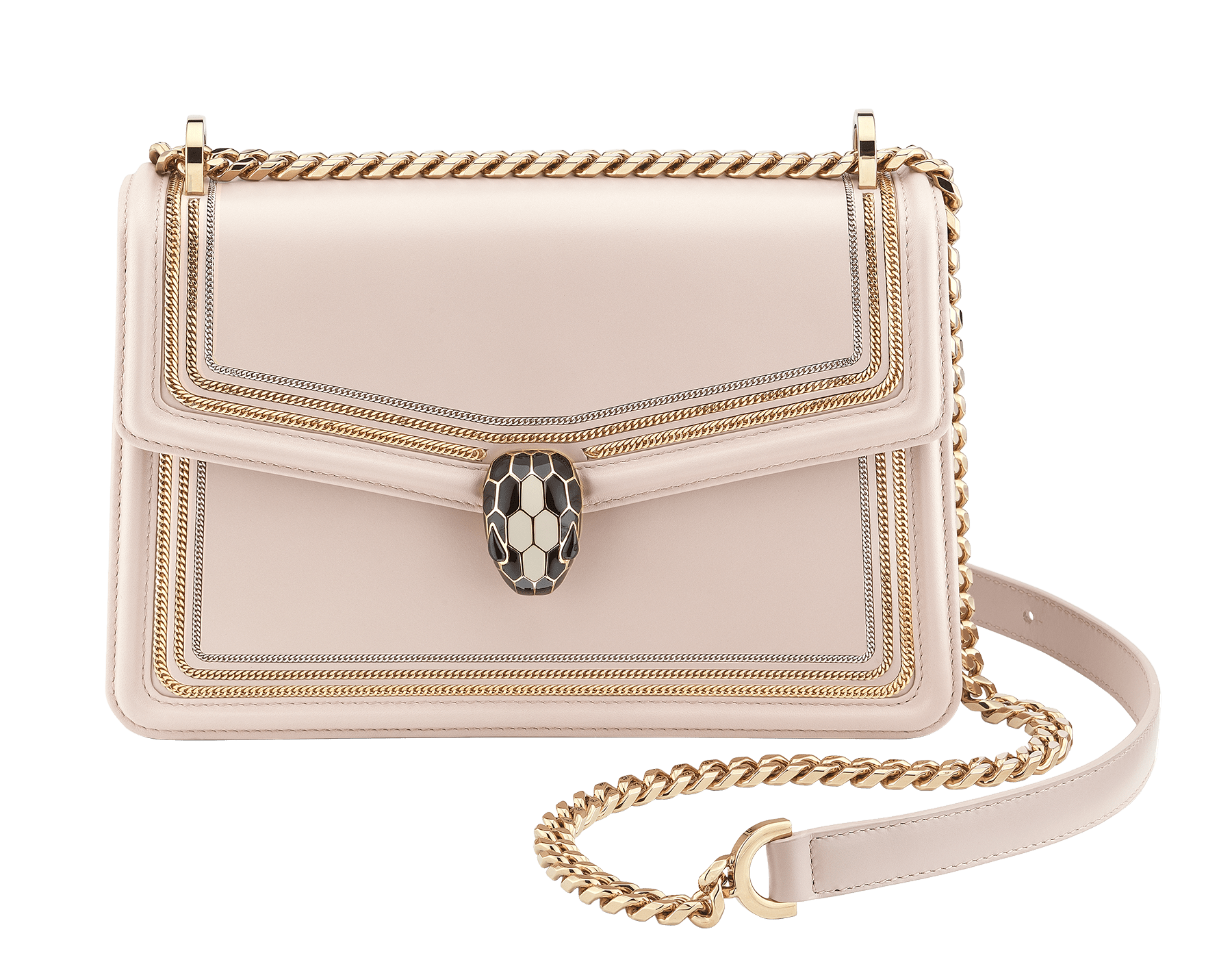 """Serpenti Diamond Blast"" shoulder bag in black smooth calf leather, featuring a 3-Chain motif in light gold and palladium finishing. Iconic snakehead closure in light gold plated brass enriched with black and white enamel and black onyx eyes 922-3CFCL image 1"