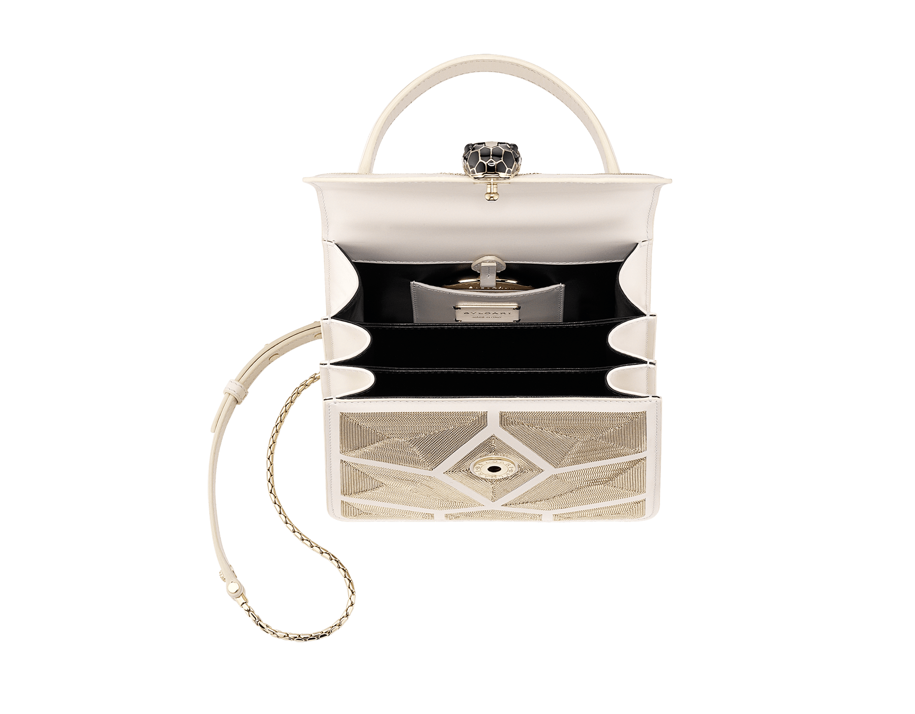"""Serpenti Forever "" crossbody bag in black calf leather and Million Chain motif body and black calf leather sides. Iconic snake head closure in light gold plated brass enriched with black enamel and black onyx eyes. 752-CP image 4"