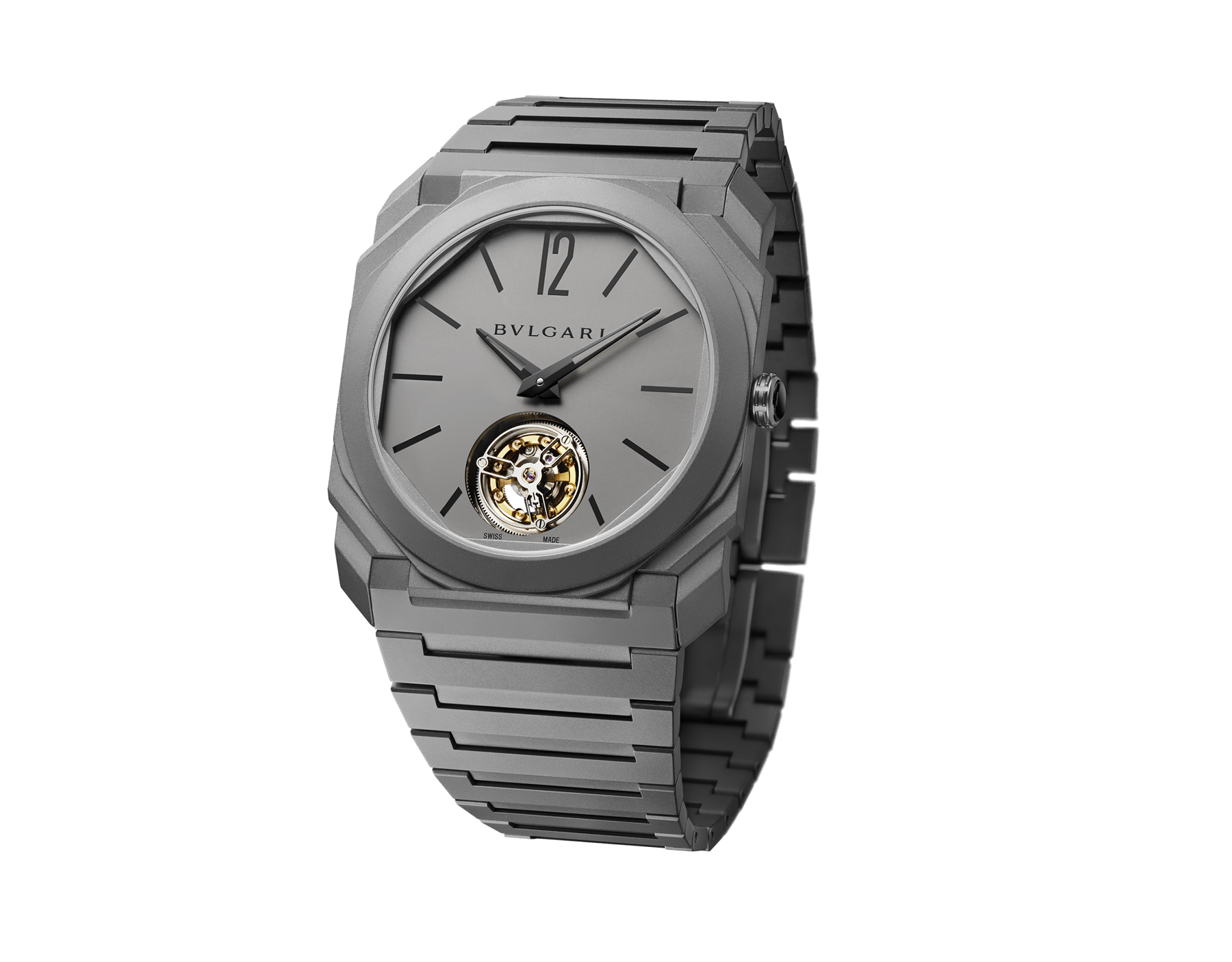 Octo Finissimo Tourbillon watch with mechanical manufacture movement, flying see-through tourbillon, manual winding, sandblasted titanium ultra-thin case, dial and bracelet 103016 image 1