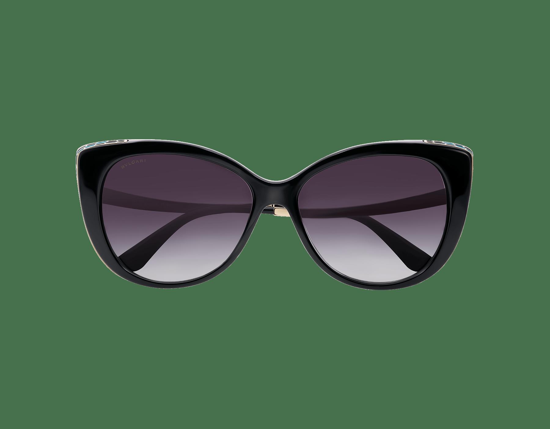 貓眼式金屬鏡架,時尚優雅,彎曲鏡腳呼應蛇身曲線,任何穿搭都適合佩戴。鏡面鏡片和彩色鱗片以純手工鑲於鏡架,展現蓬勃生氣。 903057 image 2