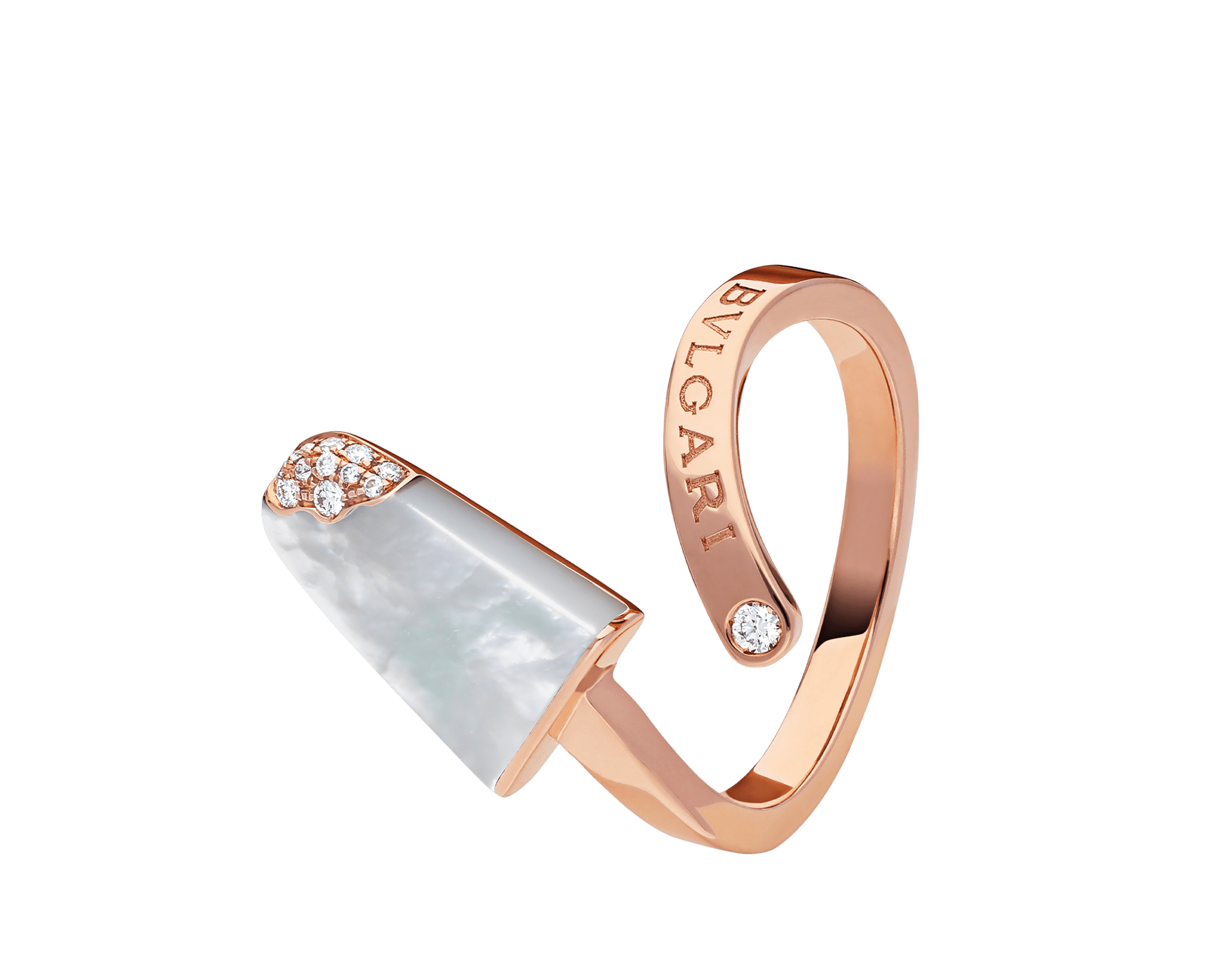 BVLGARI BVLGARI Gelati 18 kt rose gold ring set with mother-of-pearl and pavé diamonds AN858014 image 2