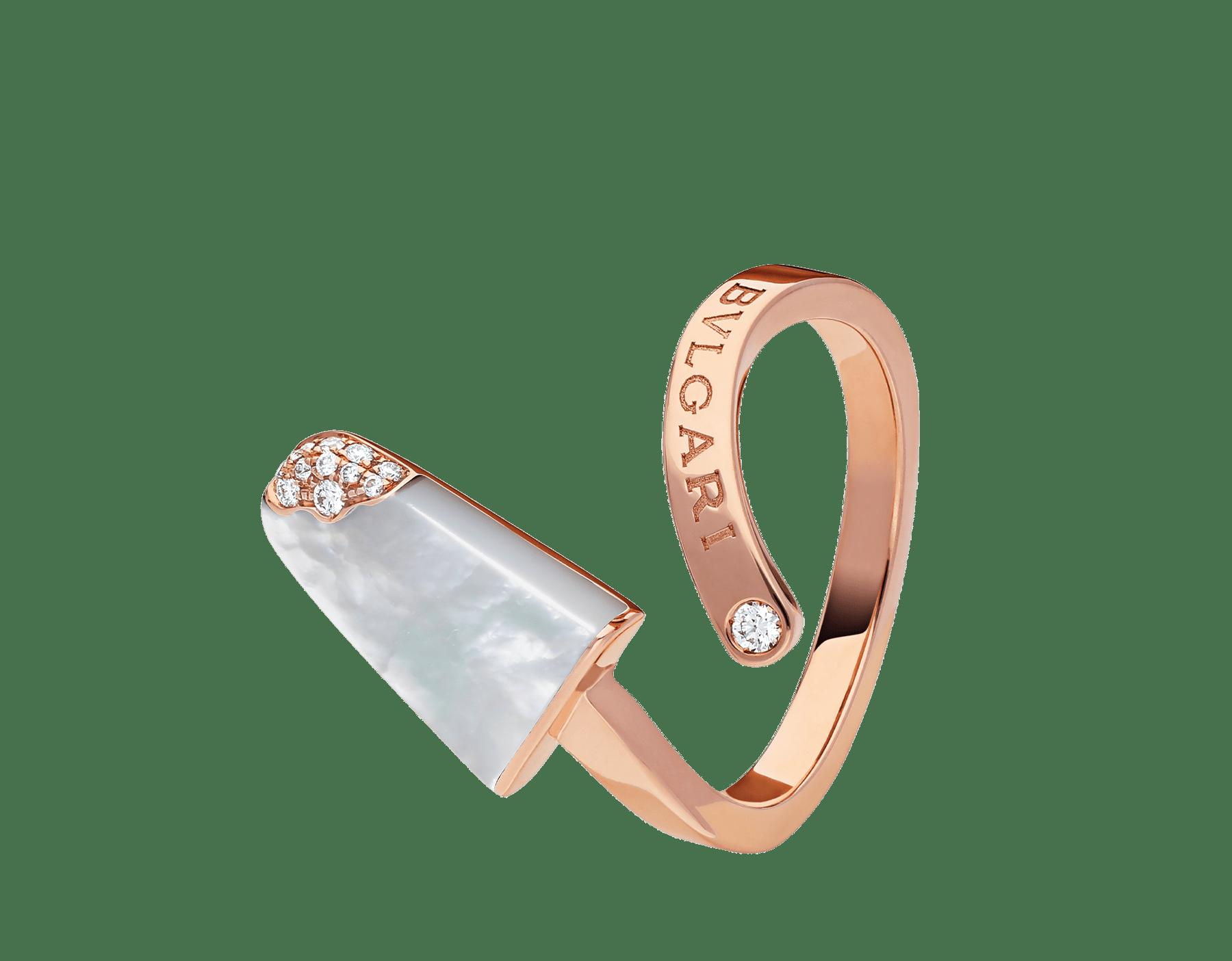 Anel BVLGARIBVLGARI Gelati em ouro rosa 18K cravejado com madrepérola e pavê de diamantes AN858014 image 2