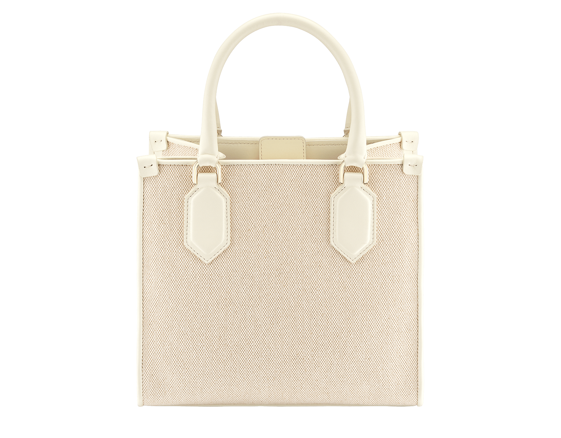 """""""Bvlgari Logo"""" small tote bag in Ivory Opal white canvas, with Beet Amethyst purple grosgrain inner lining. Bvlgari logo featured with light gold-plated brass chain inserts on the Ivory Opal white calf leather. BVL-1159-CC image 3"""