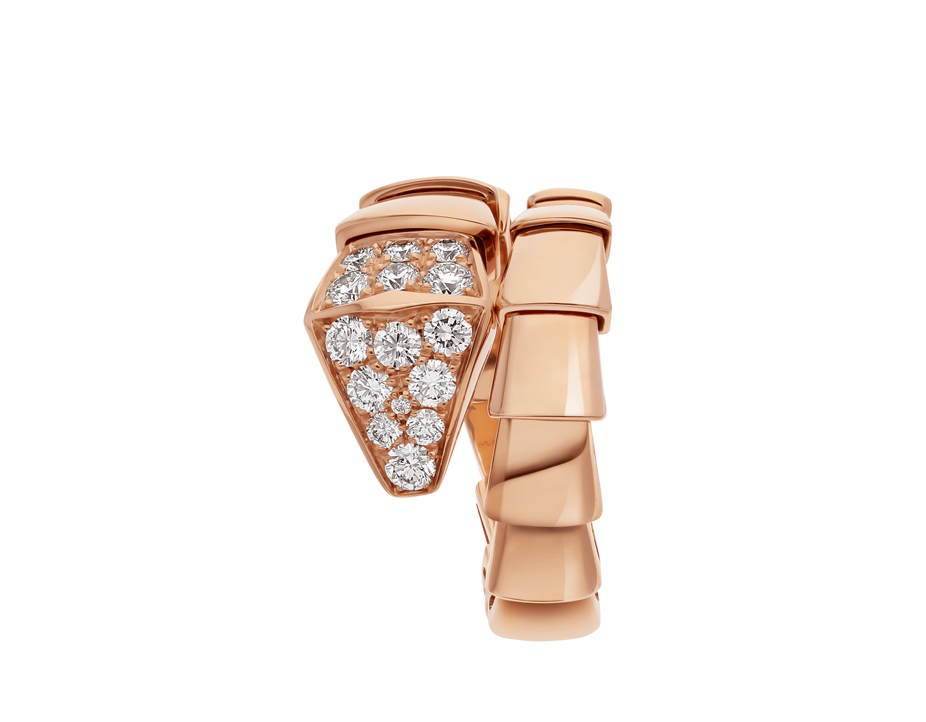 Serpenti Viper one-coil ring in 18 kt rose gold, set with pavé diamonds on the head. AN855318 image 2