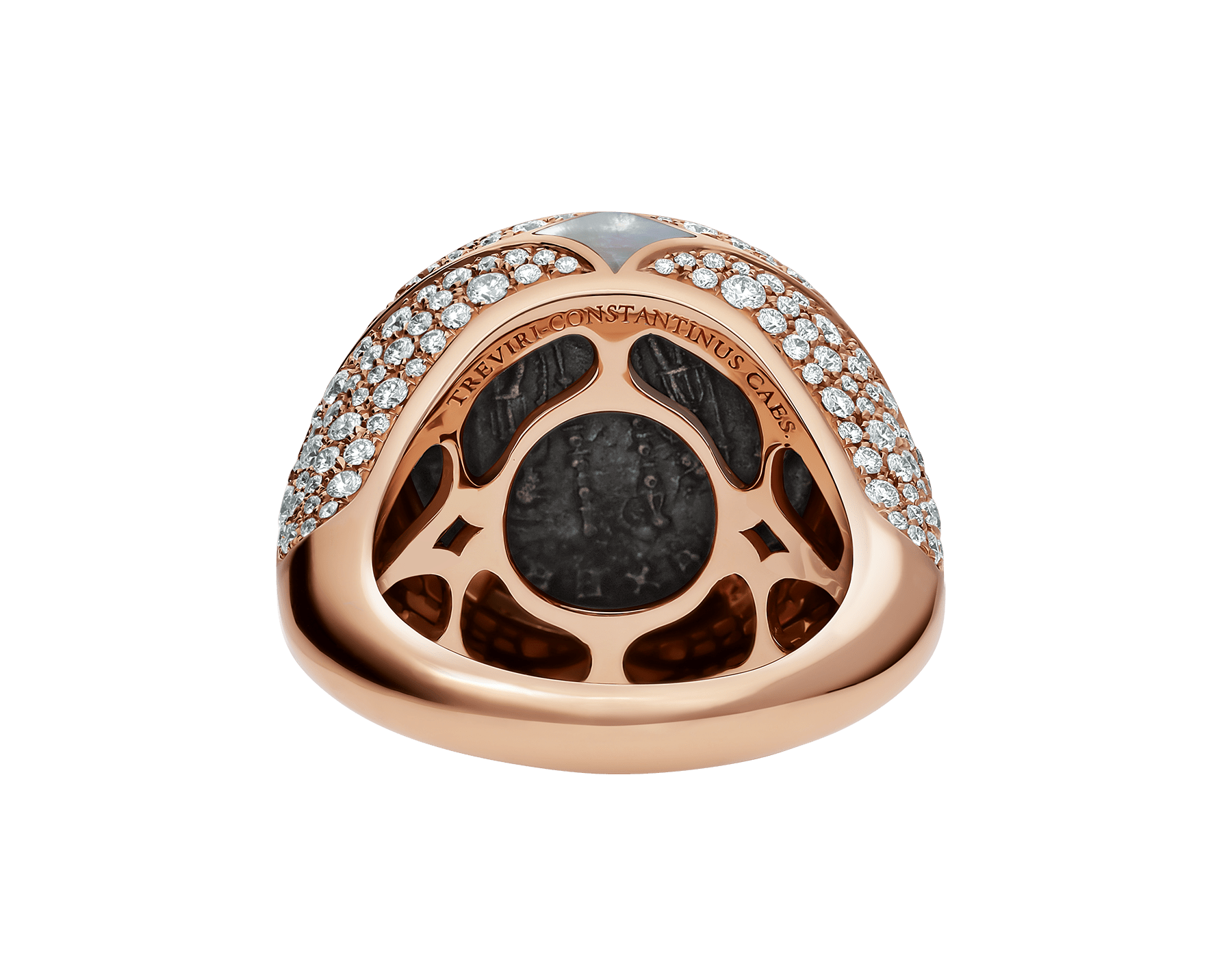 Anel Monete em ouro rosa 18K cravejado com uma moeda antiga, elementos de madrepérola e pavê de diamantes AN858424 image 4