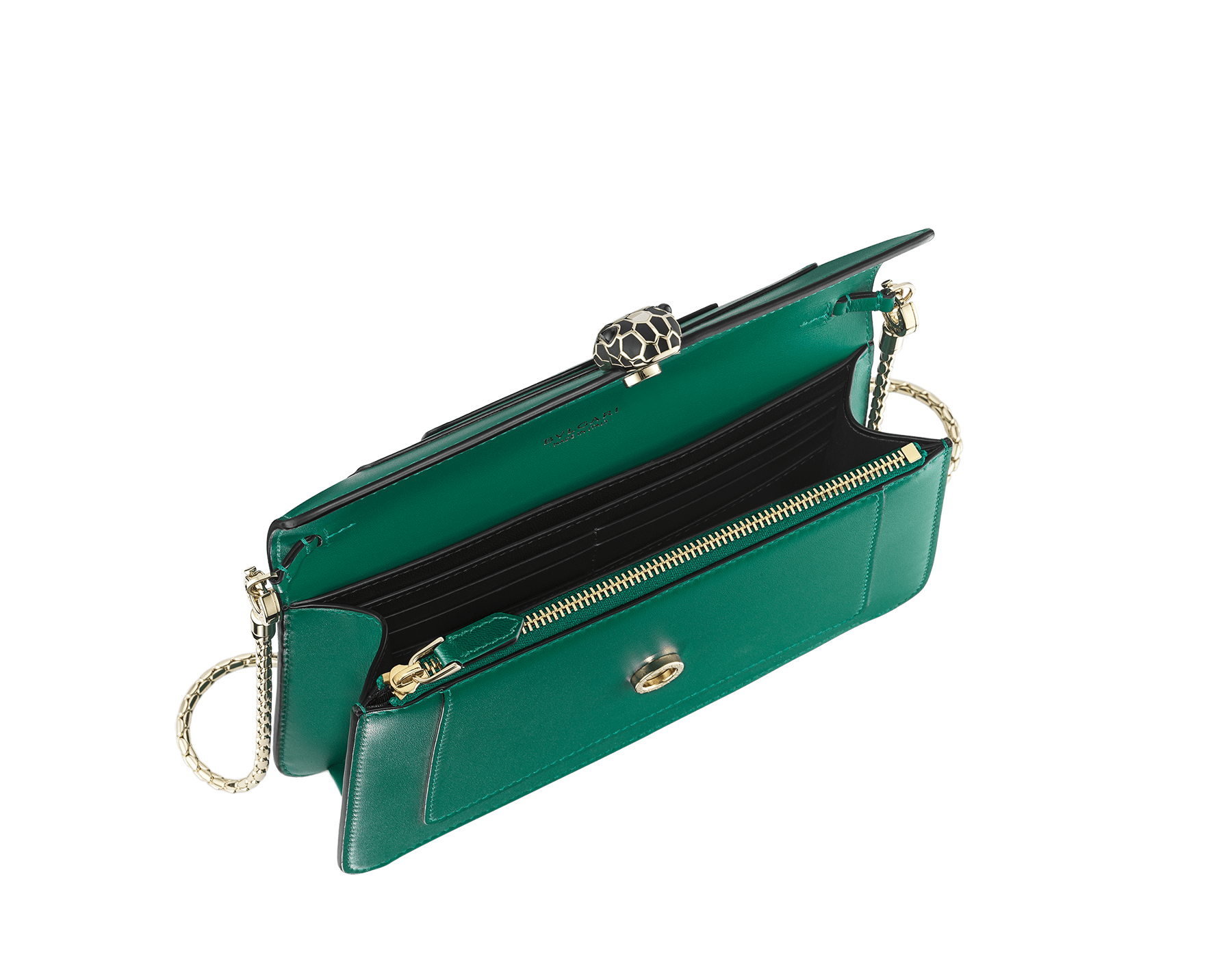 "New ""Serpenti Forever"" chain wallet in soft emerald-green calfskin and black nappa leather. Iconic snakehead closure in light gold-plated brass with black and agate-white enamel and green malachite eyes. SEA-CHAINPOCHETTE-CL image 2"