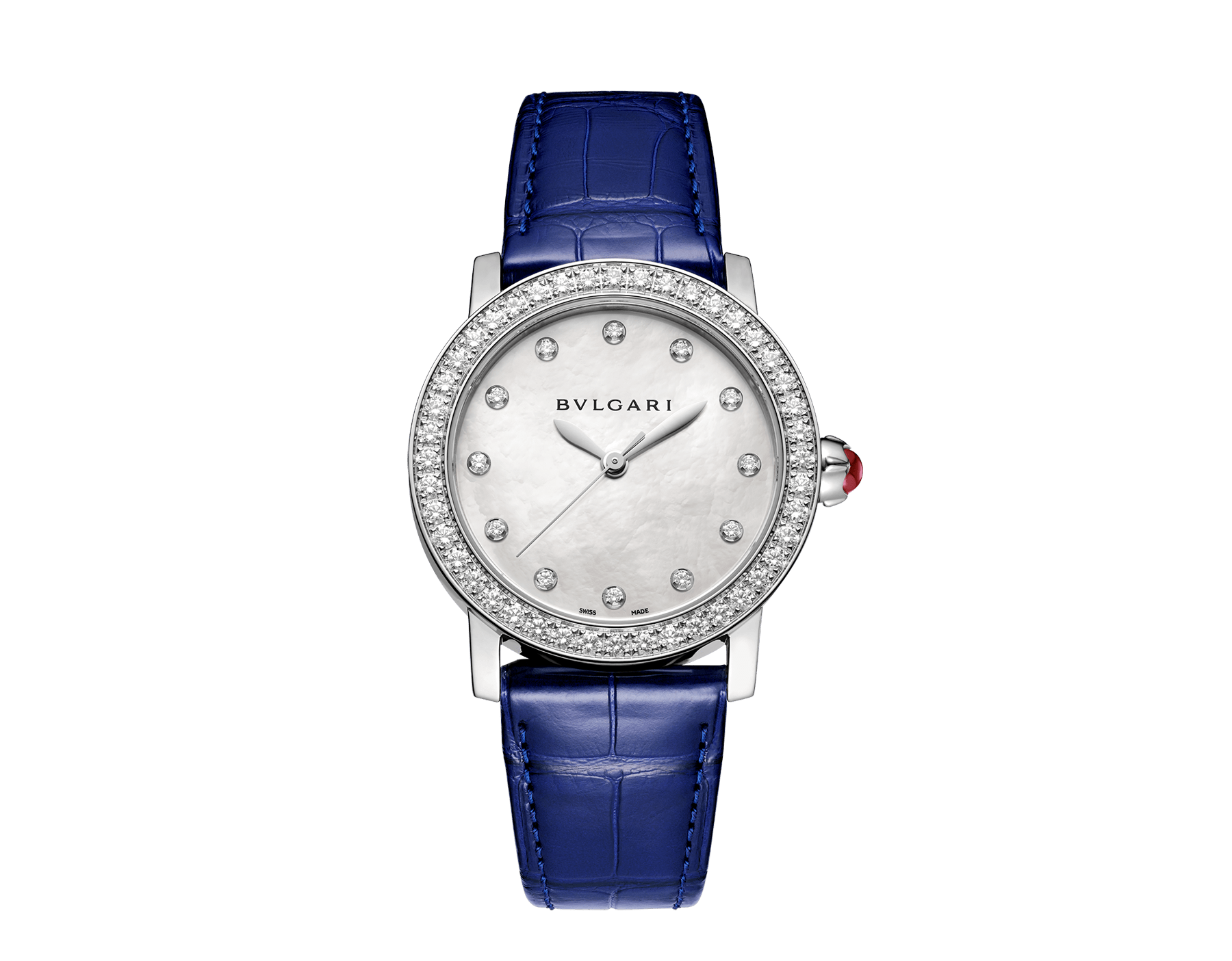 BVLGARI BVLGARI watch with stainless steel case set with brilliant-cut diamonds, mother-of-pearl dial, diamond indexes and shiny blue alligator bracelet 102721 image 1