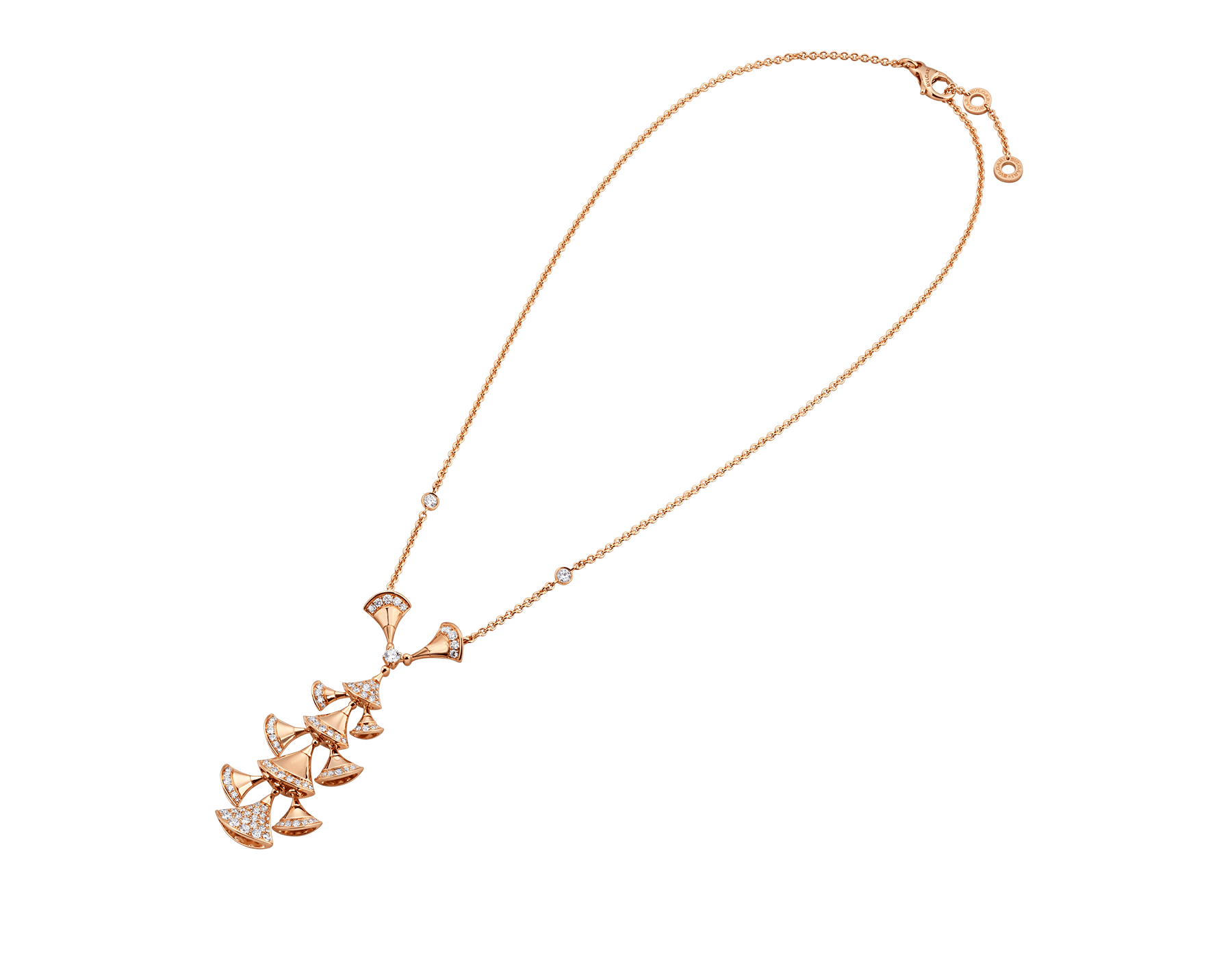 DIVAS' DREAM necklace in 18 kt rose gold set with diamonds and pavé diamonds. 352607 image 2