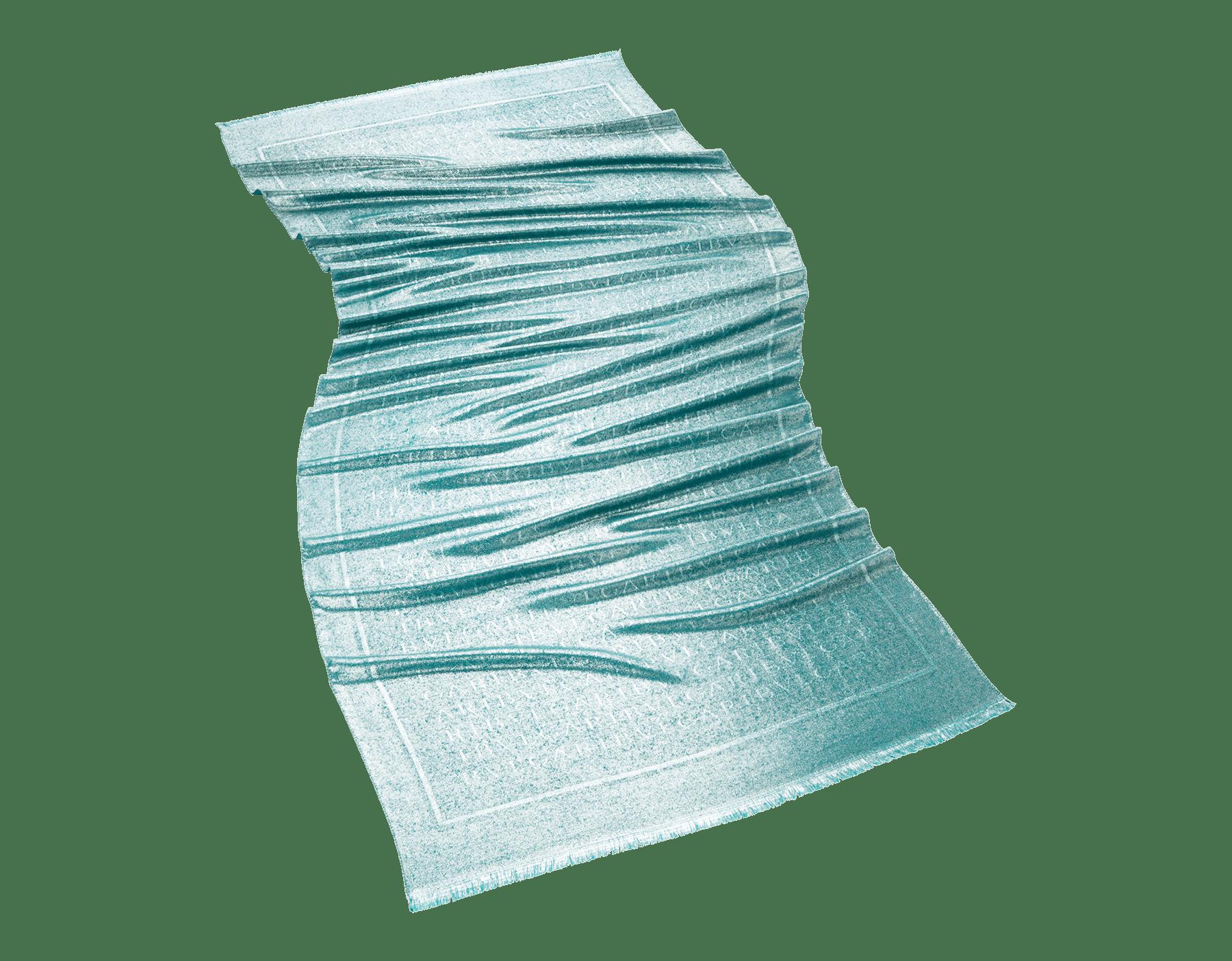 """Emerald green """"Lettere Maxi Metal"""" stole in fine silk wool. LETTEREMAXIMETAL image 1"""